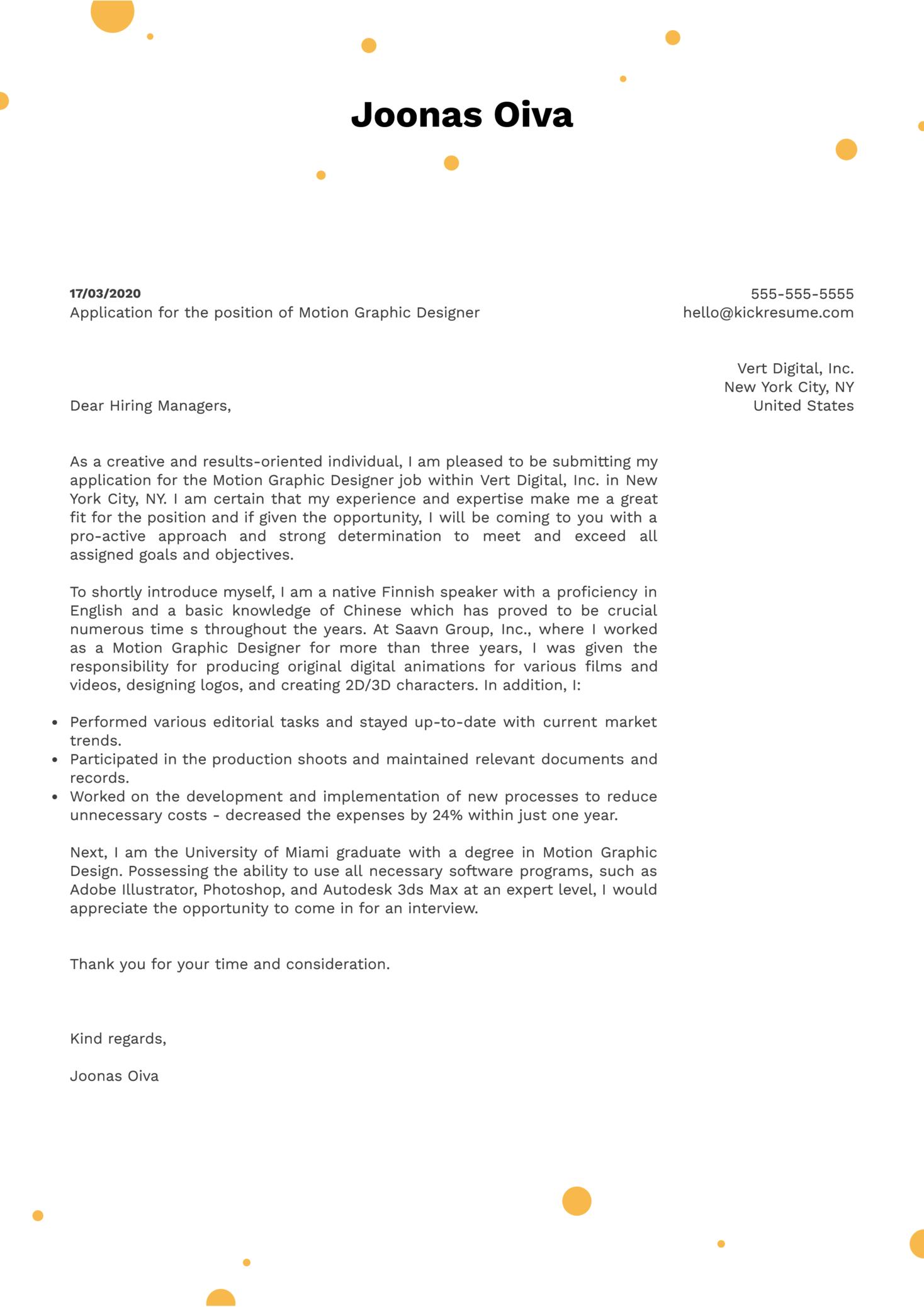 Motion Graphic Designer Cover Letter Template