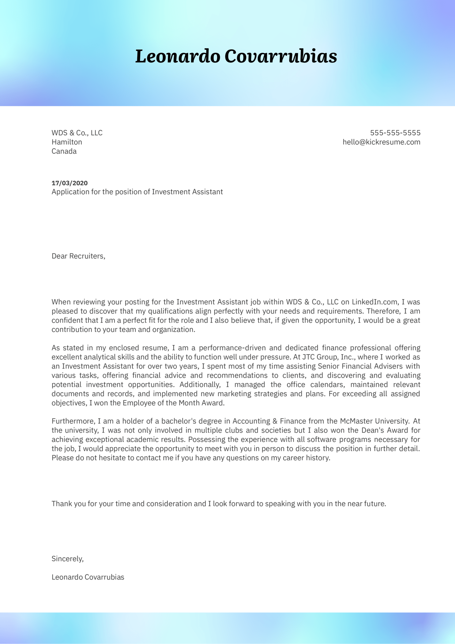 Investment Assistant Cover Letter Example
