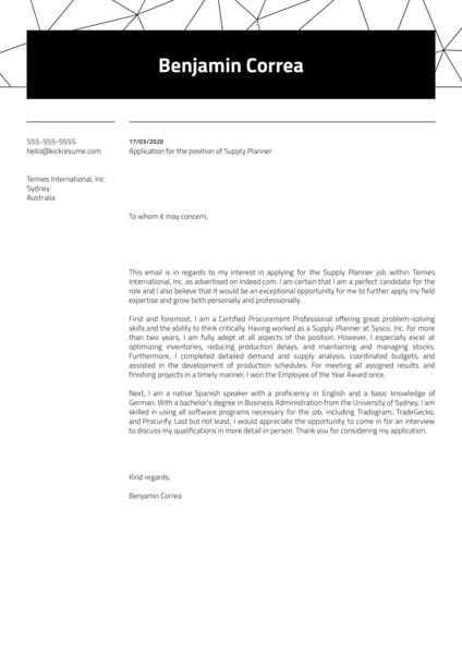 Supply Planner Cover Letter Sample