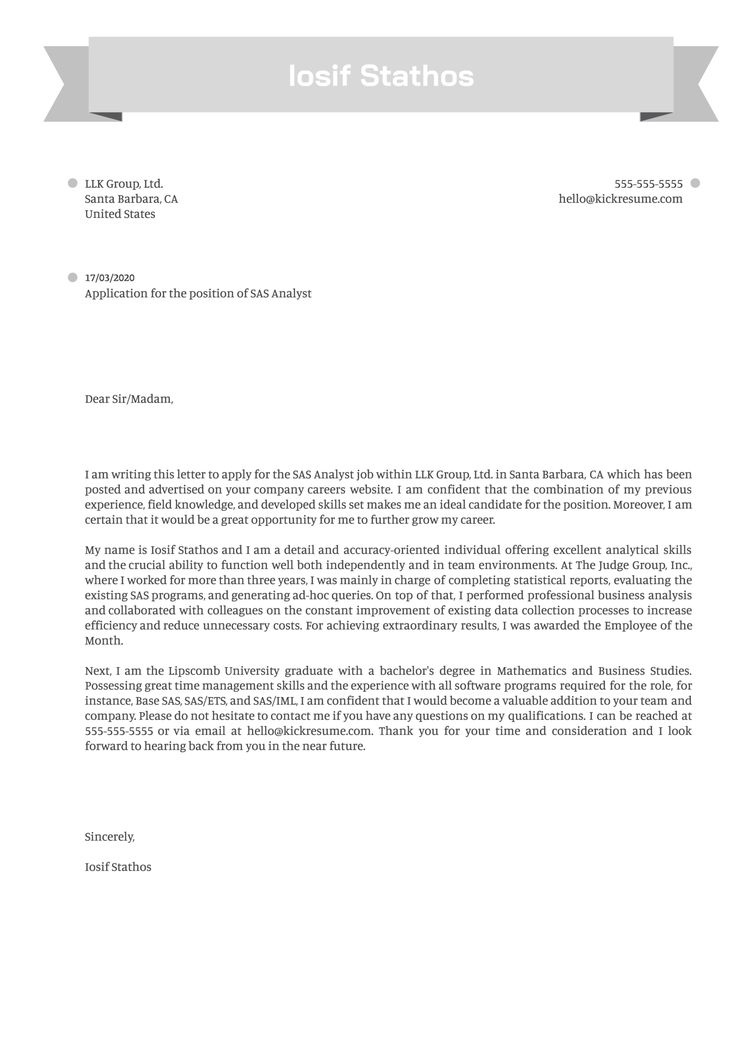 SAS Analyst Cover Letter Example