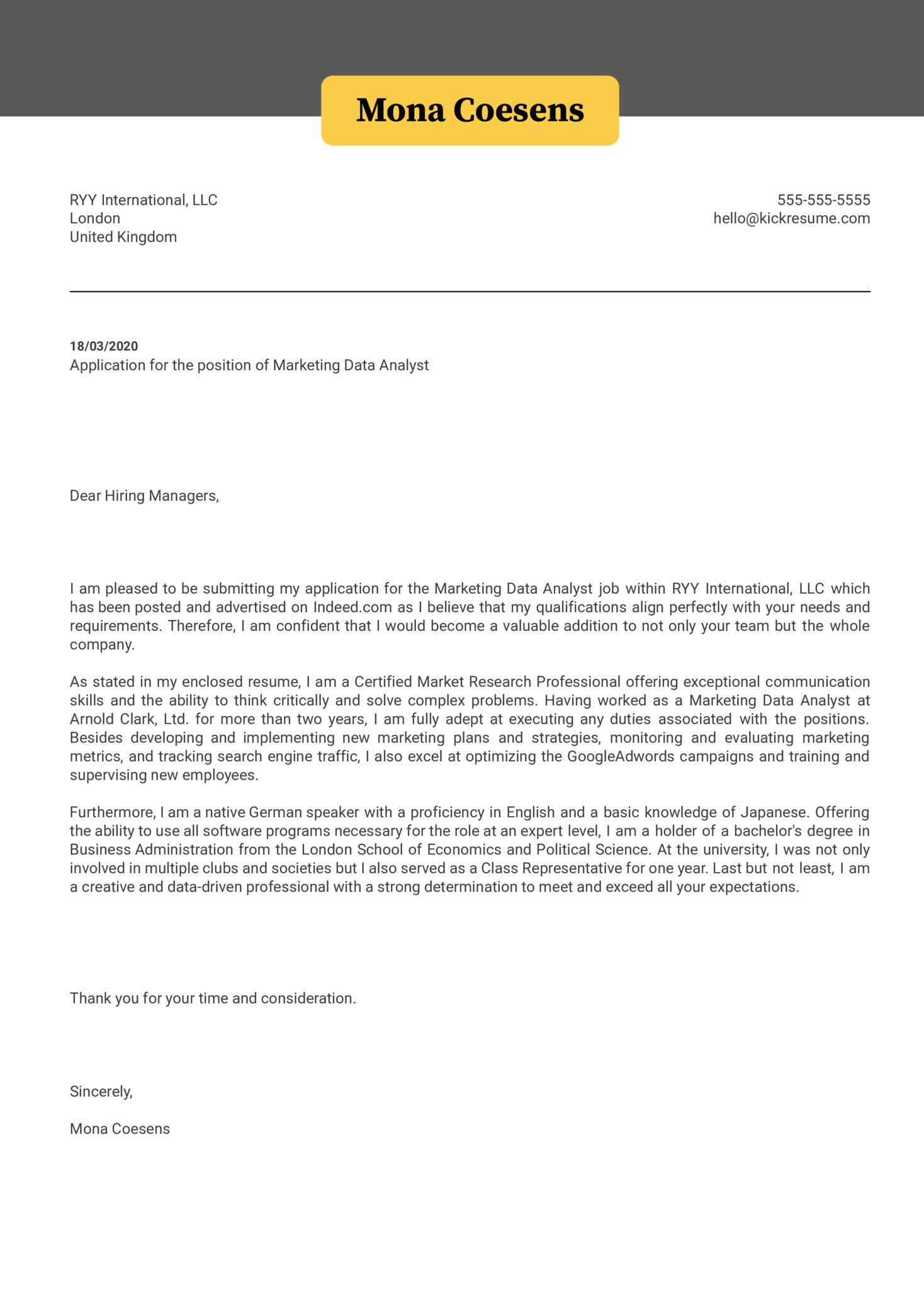 Marketing Data Analyst Cover Letter Example