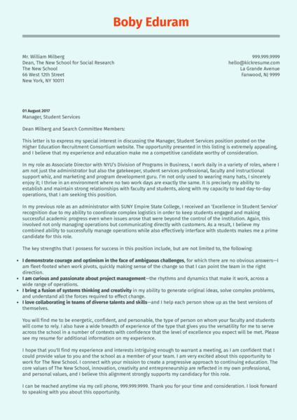 NYU Associate Director Cover Letter Sample