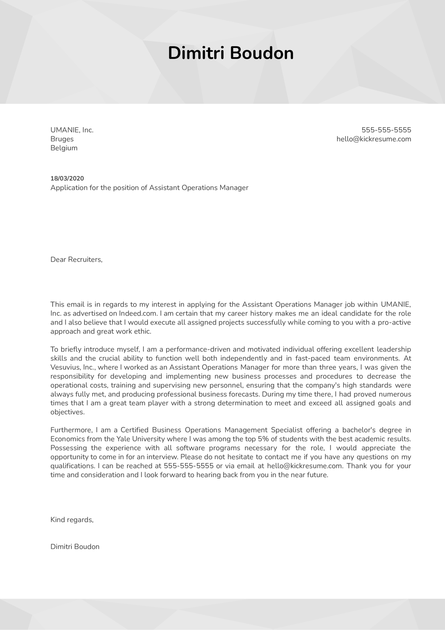 Assistant Operations Manager Cover Letter Example