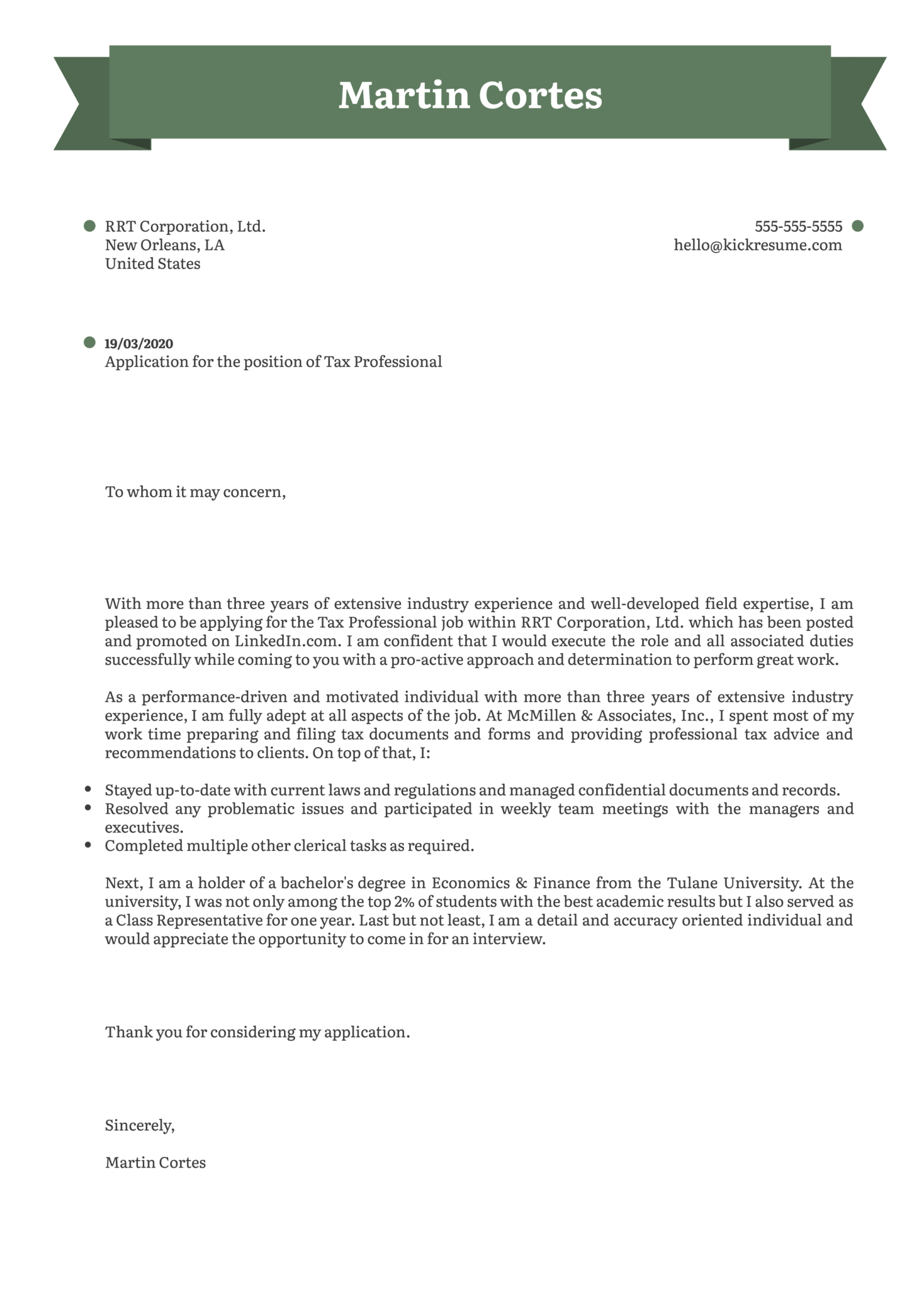 Tax Professional Cover Letter Example