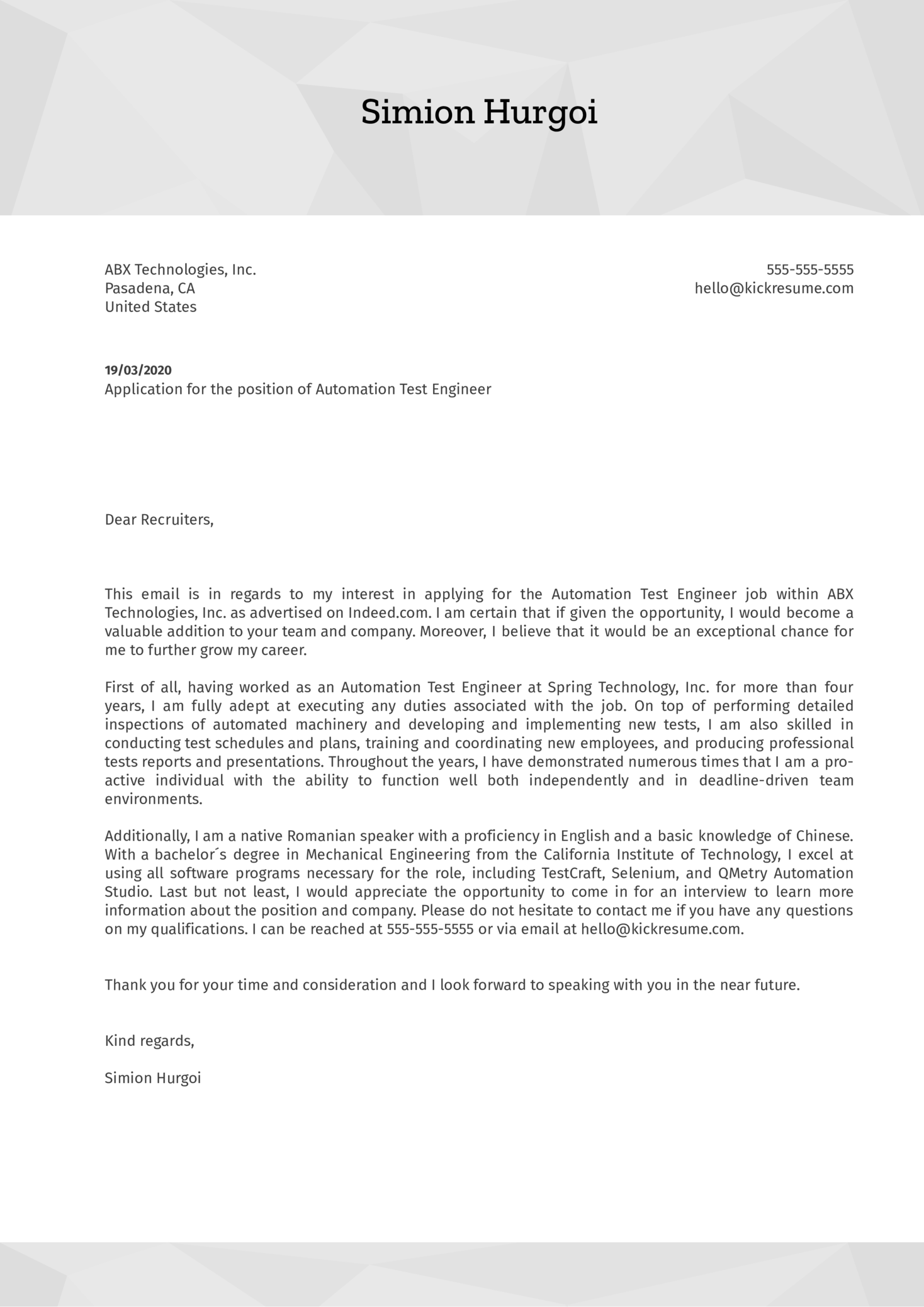 Automation Test Engineer Cover Letter Example