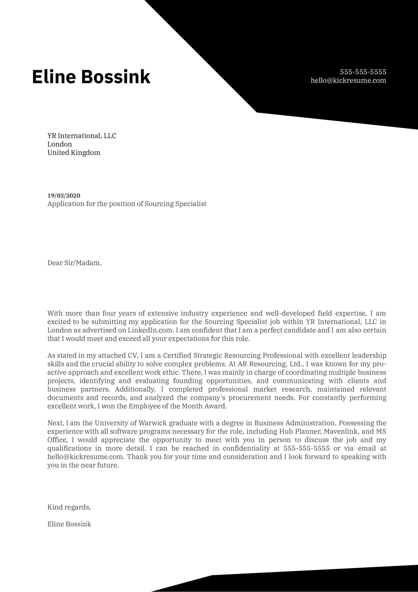 Sourcing Specialist Cover Letter Sample