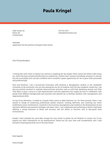 Supply Chain Internship Cover Letter Example