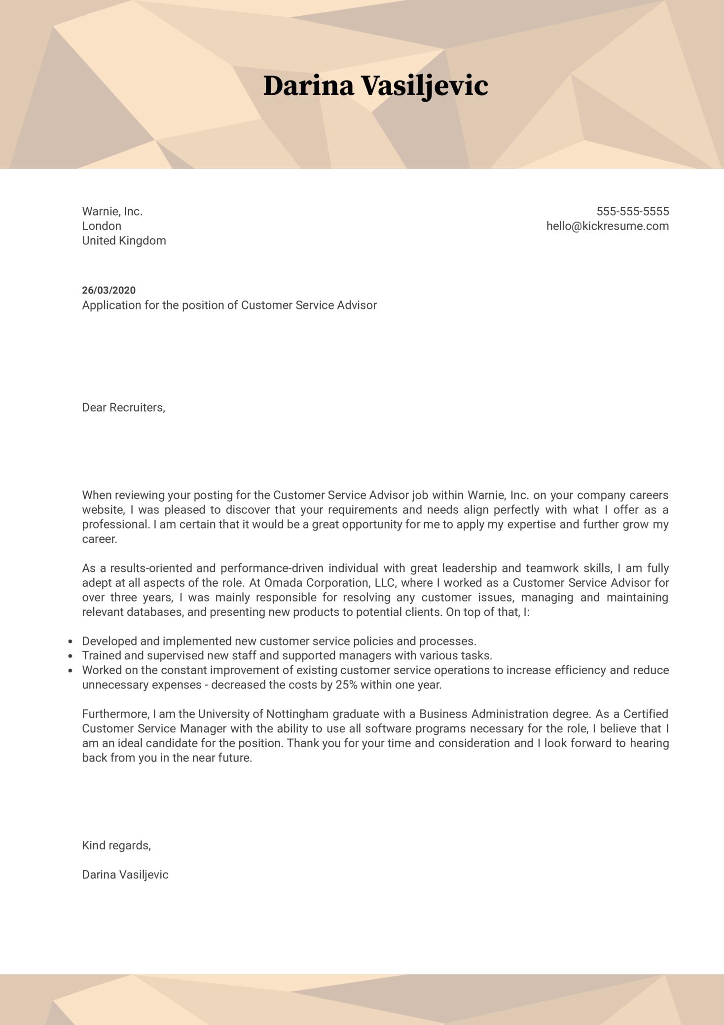 Customer Service Advisor Cover Letter Sample
