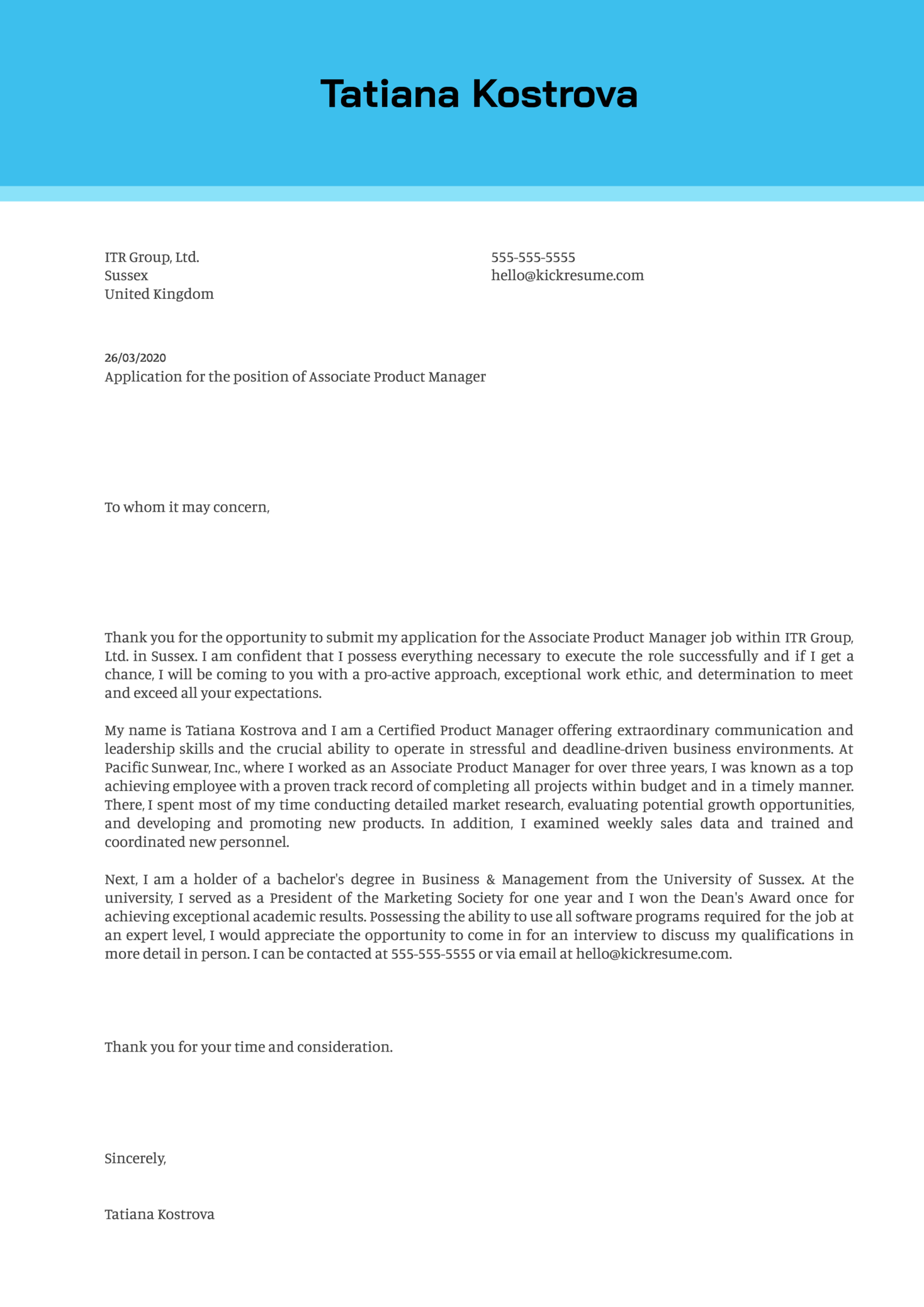 Associate Product Manager Cover Letter Sample