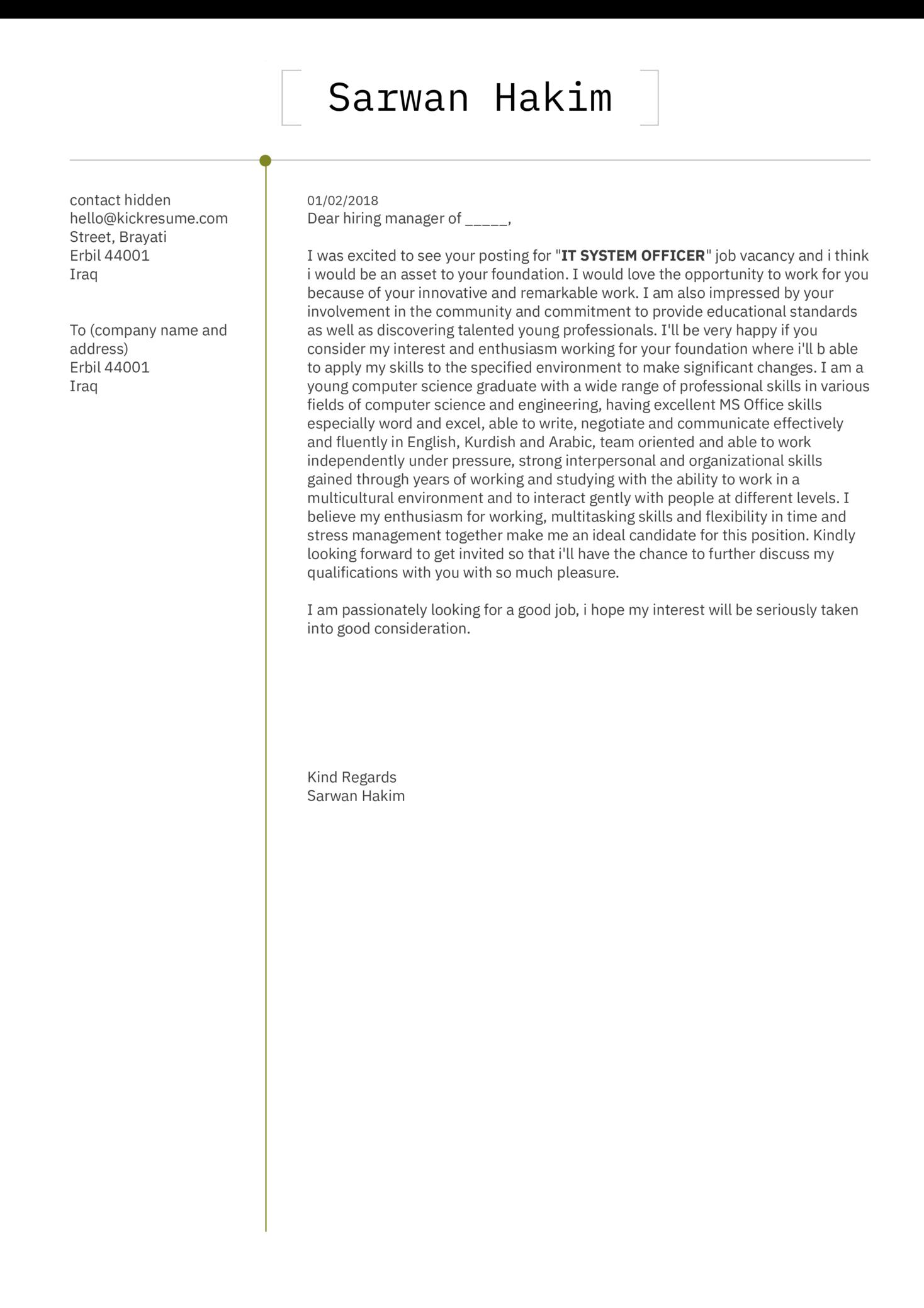 Assistant Lecturer Cover Letter Sample