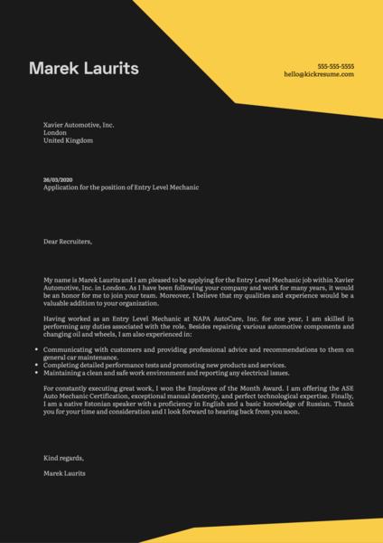 Entry Level Mechanic Cover Letter Example