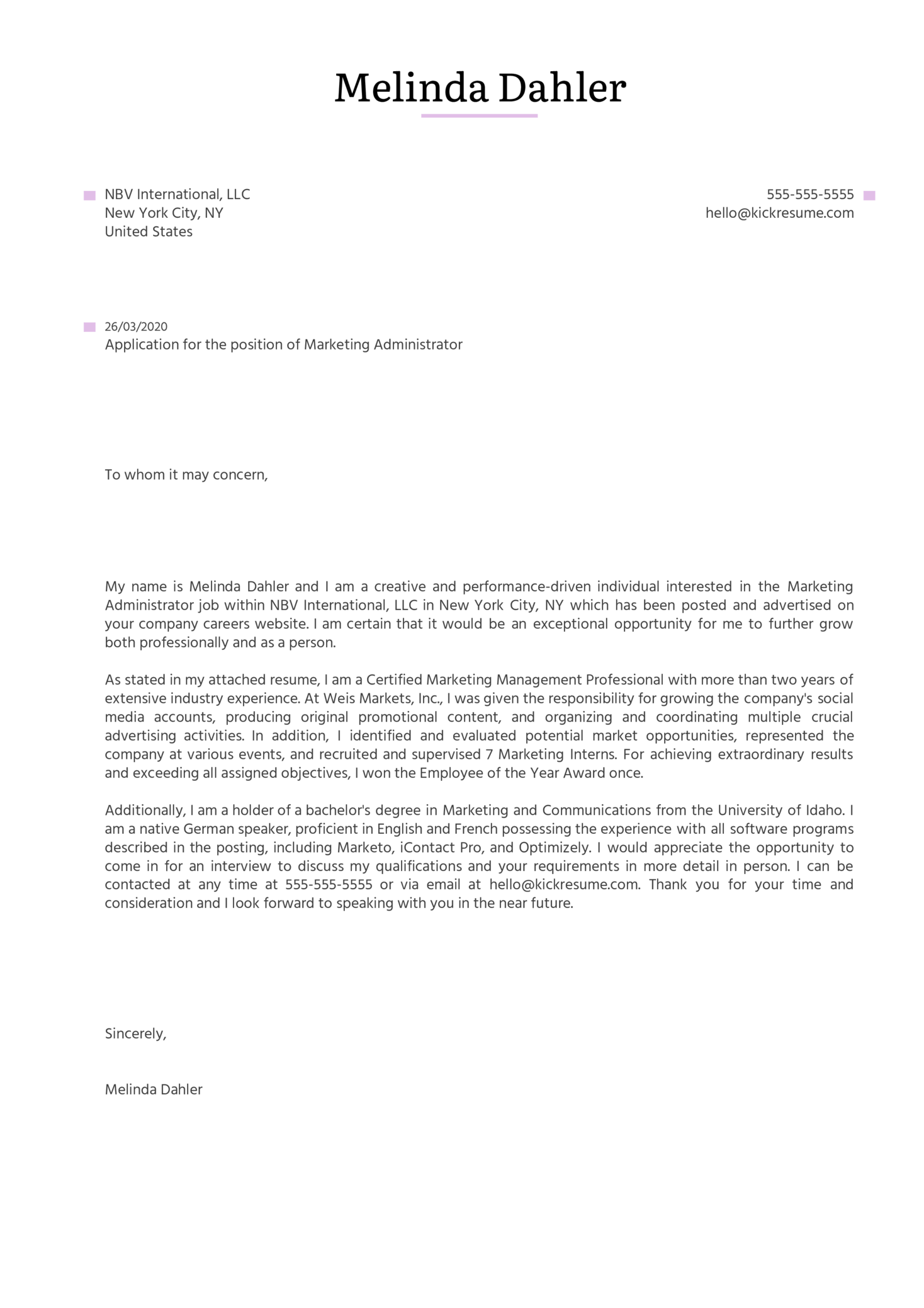 Marketing Administrator Cover Letter Example