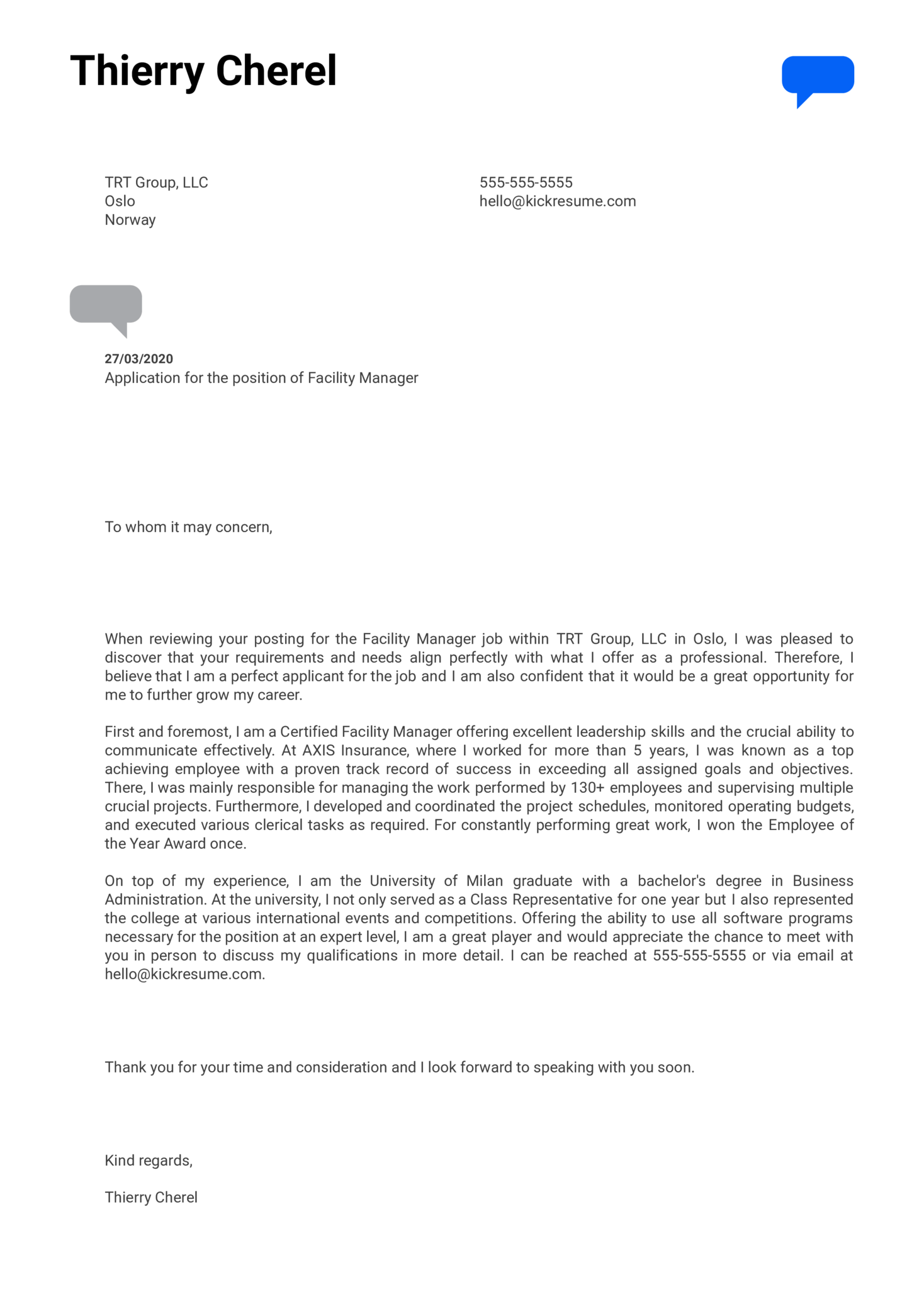 Facility Manager Cover Letter Example