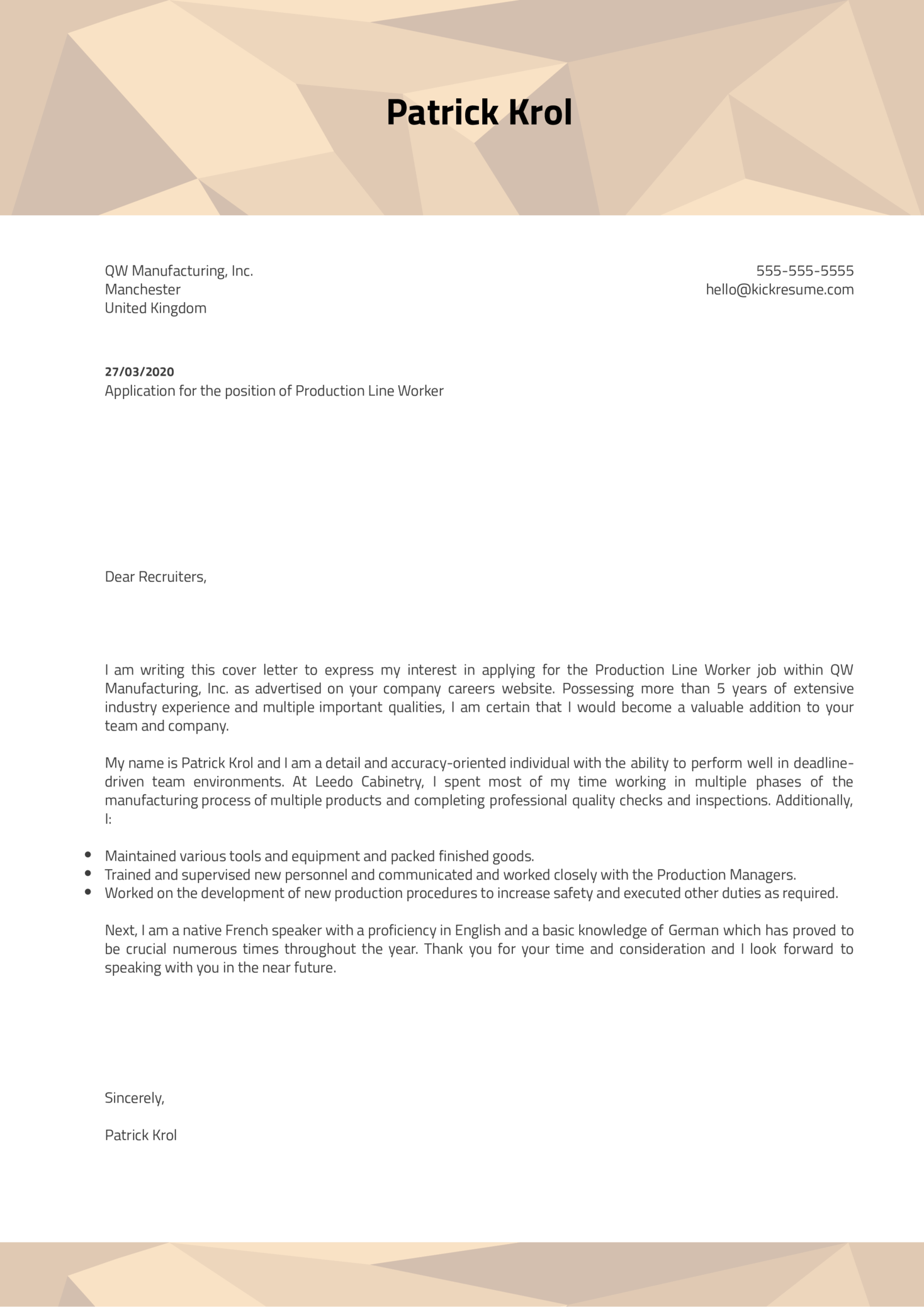 Production Line Worker Cover Letter Sample