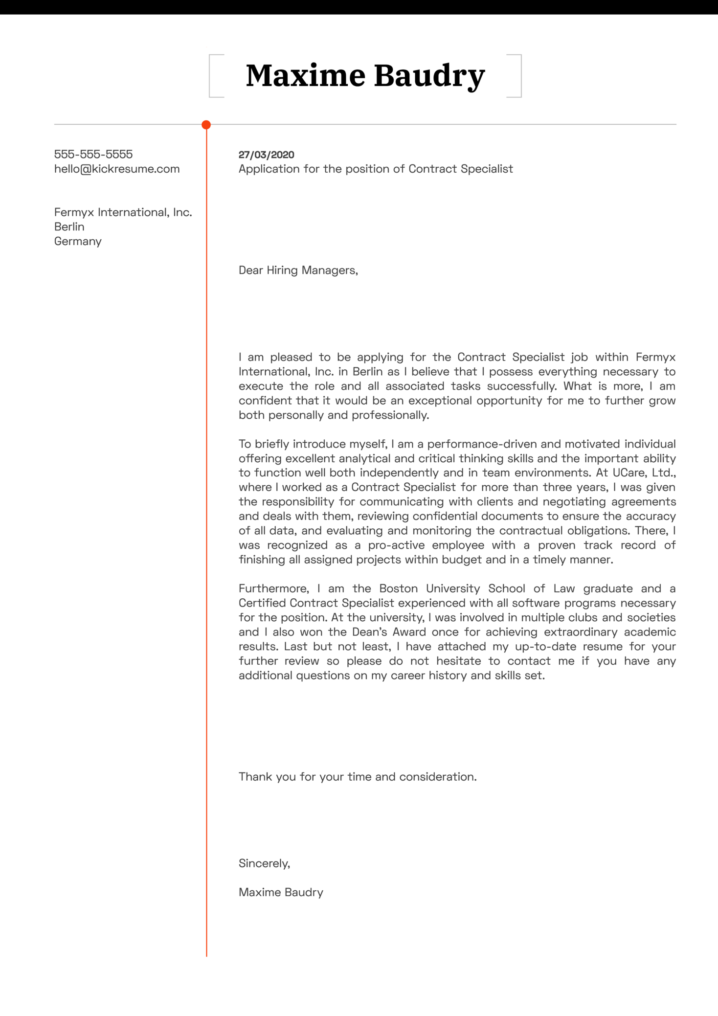 Contract Specialist Cover Letter Example