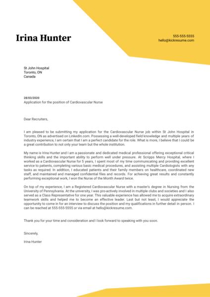 Cardiovascular Nurse Cover Letter Example