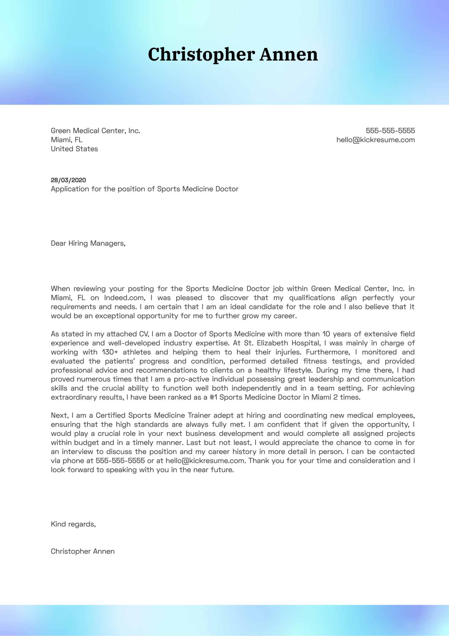 Sports Medicine Doctor Cover Letter Example