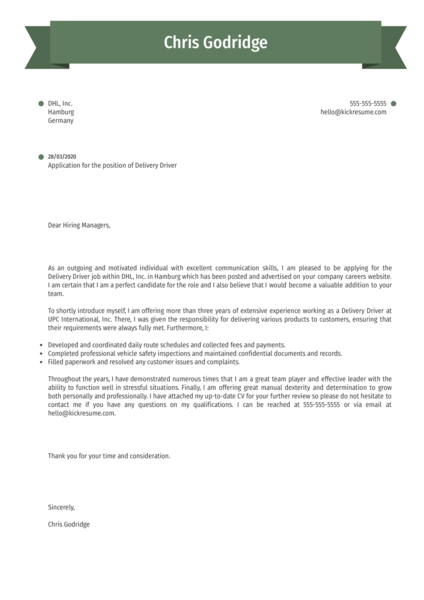 Delivery Driver Cover Letter Template
