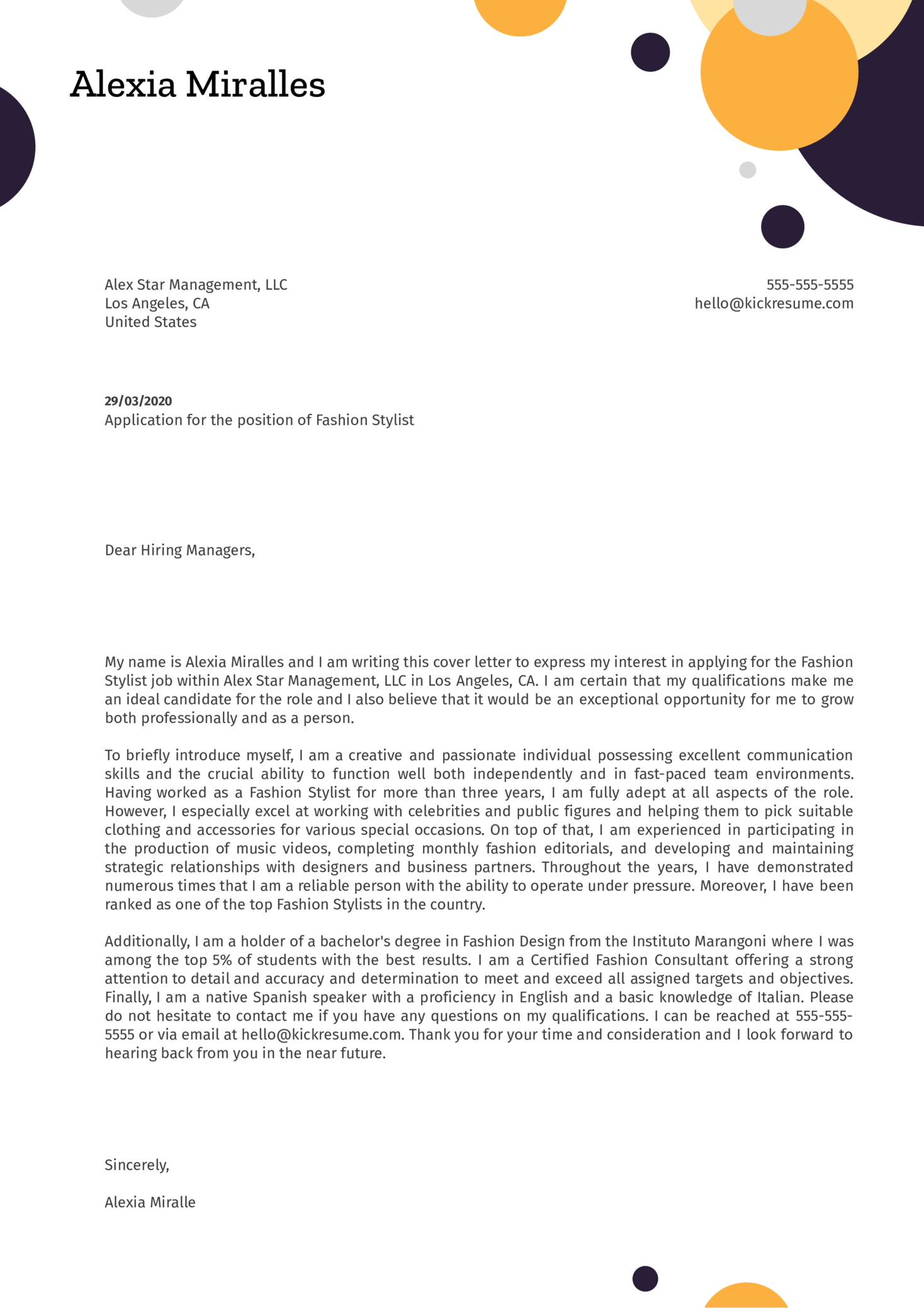 Fashion Stylist Cover Letter Example