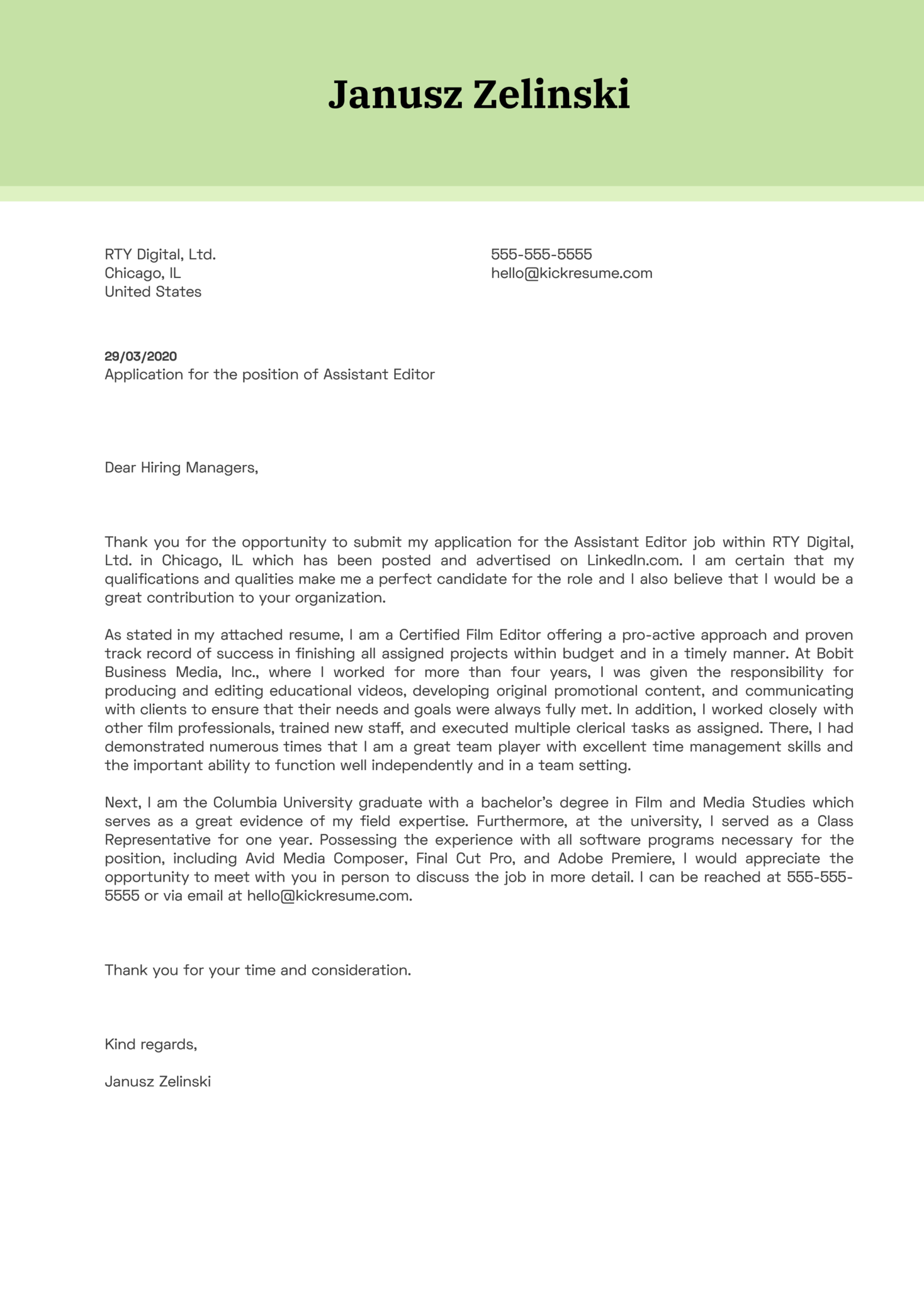Assistant Editor Cover Letter Example
