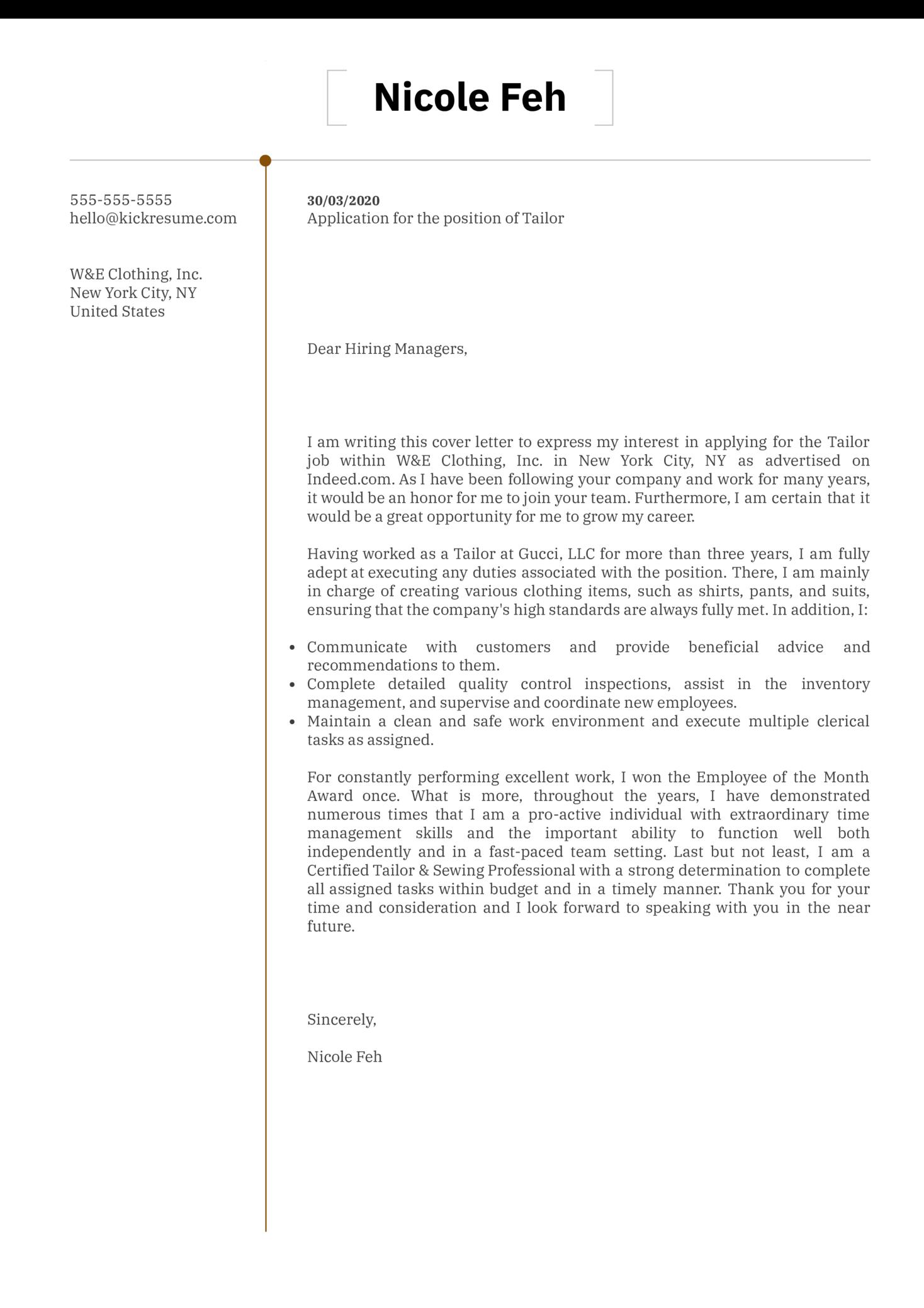 Tailor Cover Letter Sample
