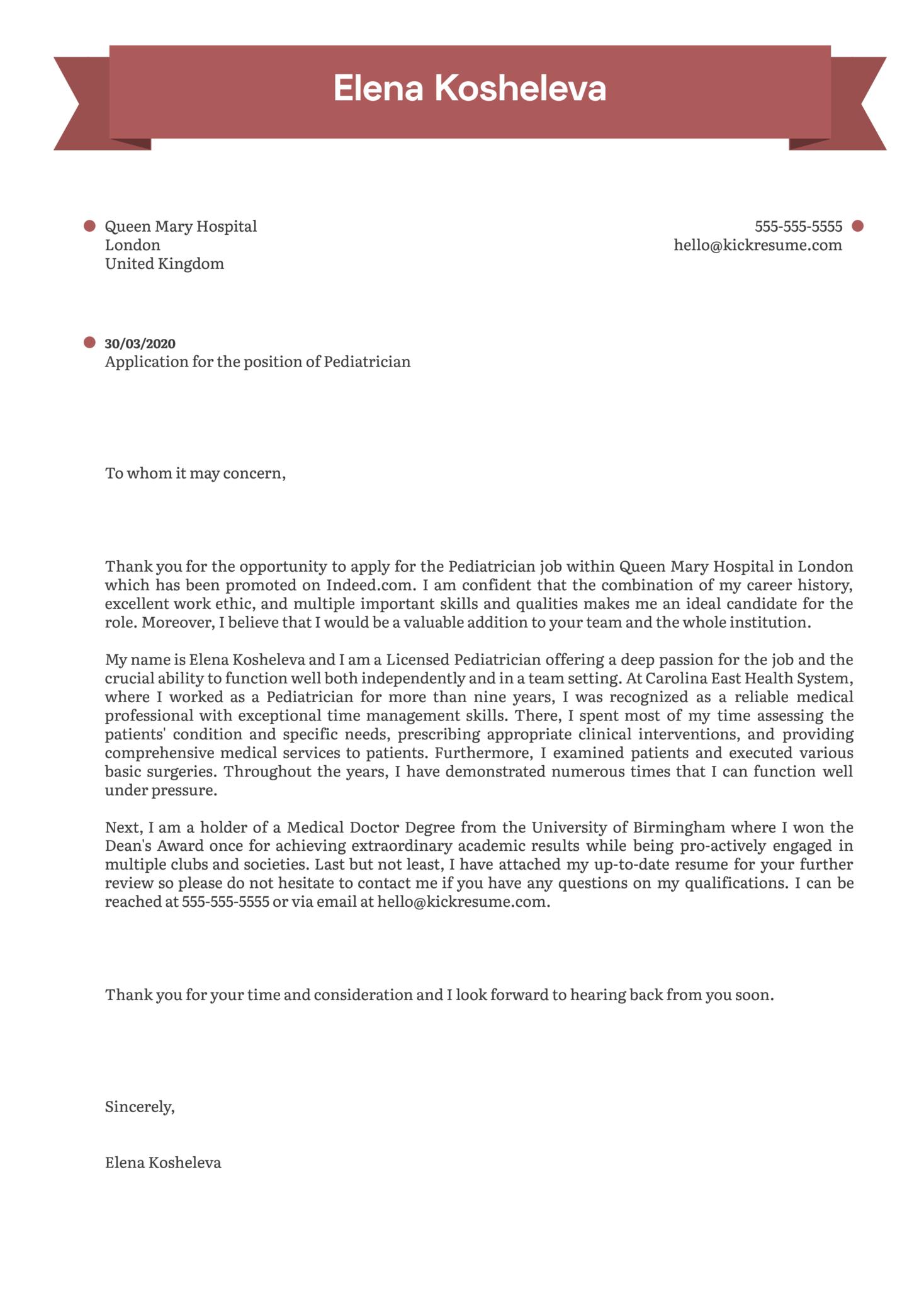 Pediatrician Cover Letter Sample