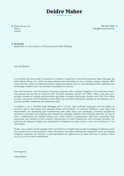 Pharmaceutical Sales Manager Cover Letter Example