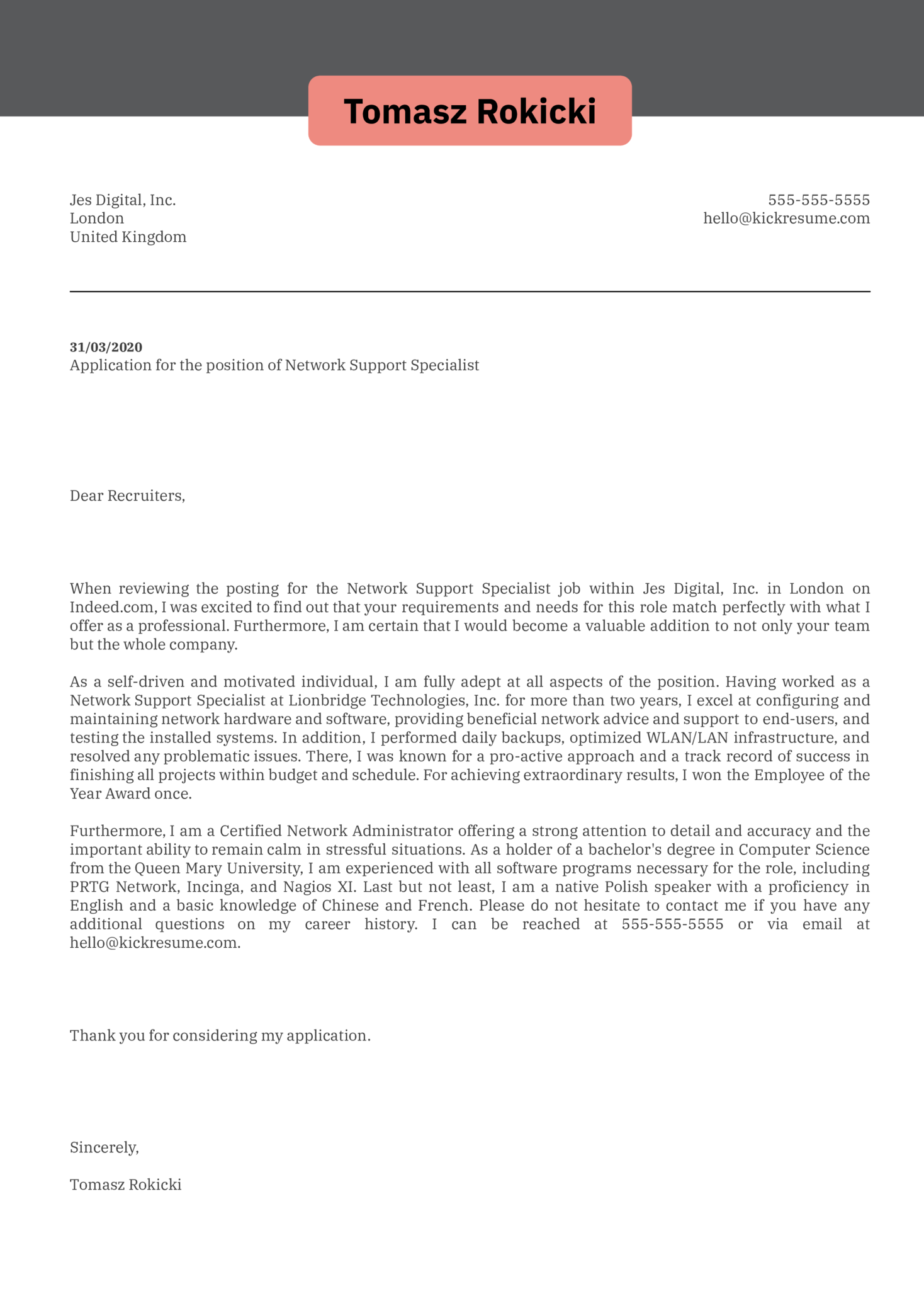 Network Support Specialist Cover Letter Example