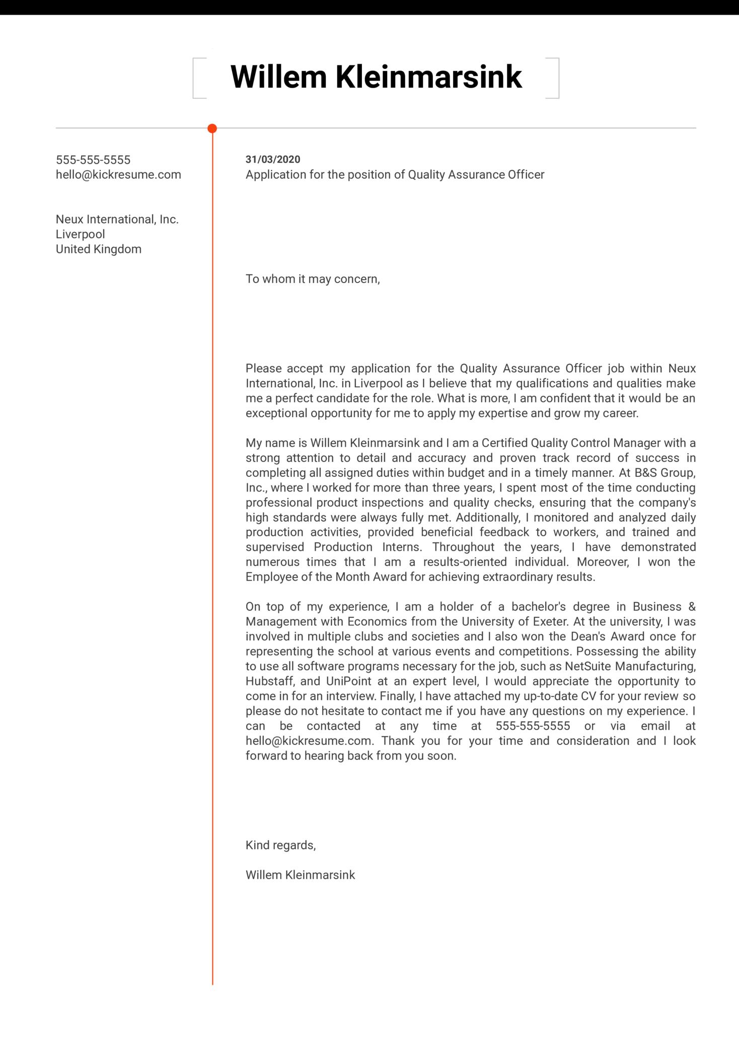 Quality Assurance Officer Cover Letter Sample