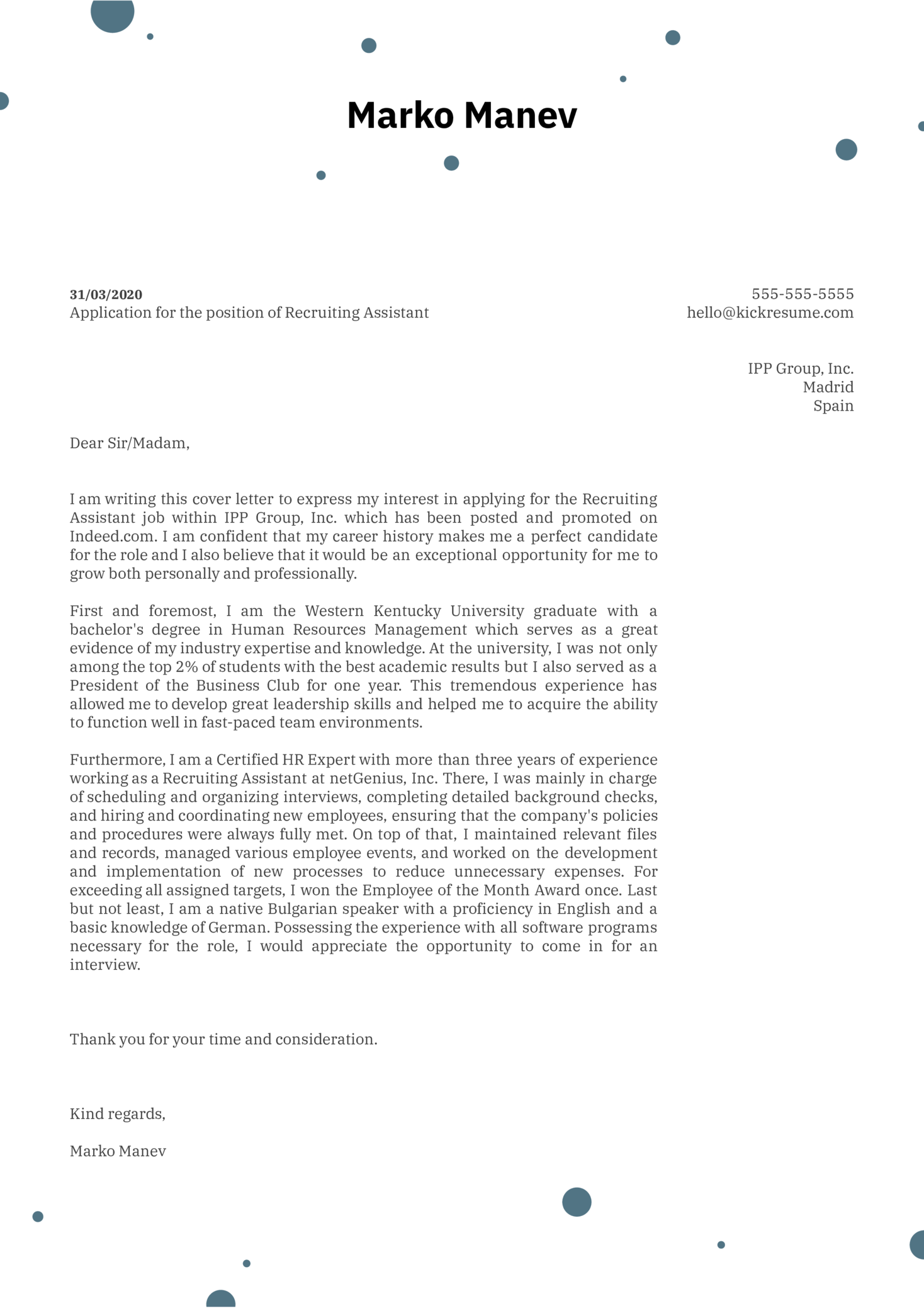 Recruiting Assistant Cover Letter Example