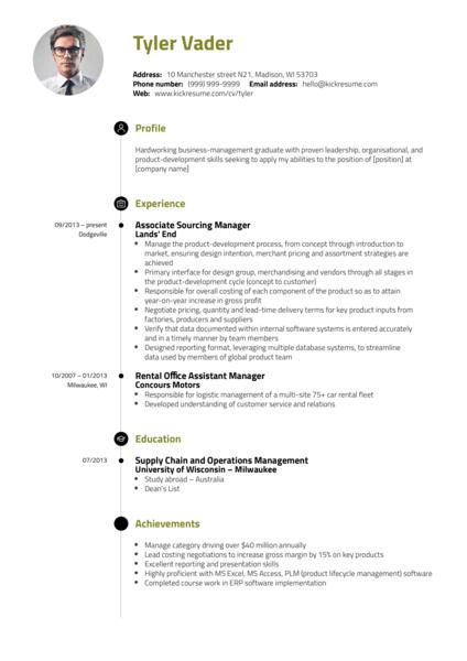 Business & Management Graduate CV Example