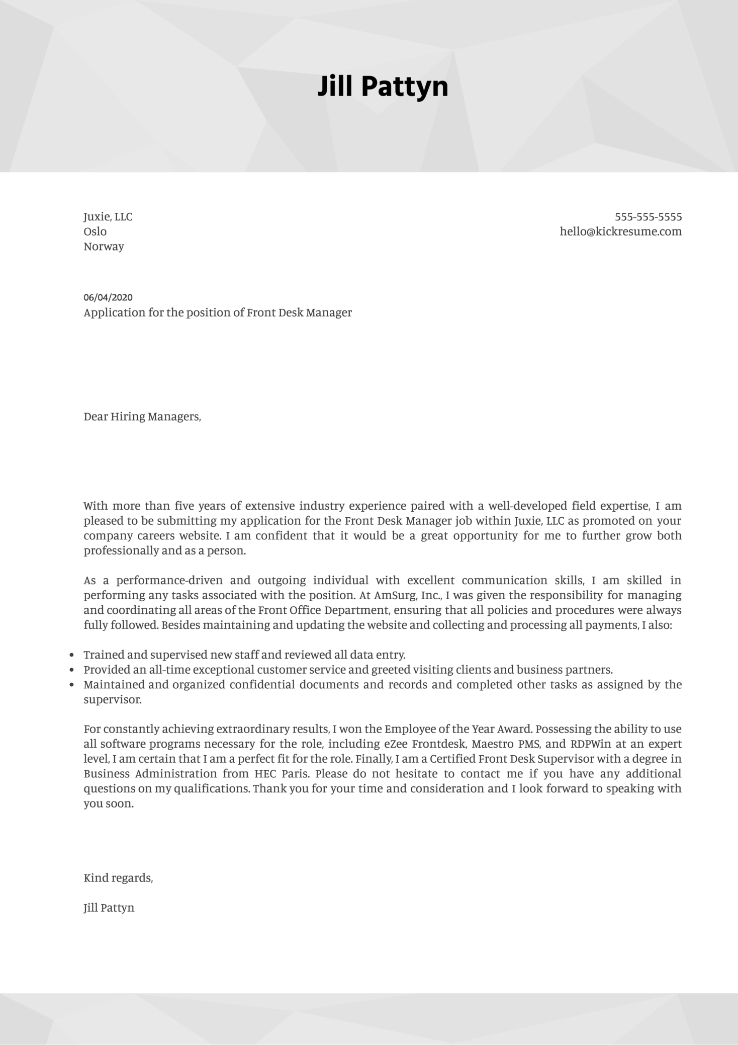 Front Desk Manager Cover Letter Example
