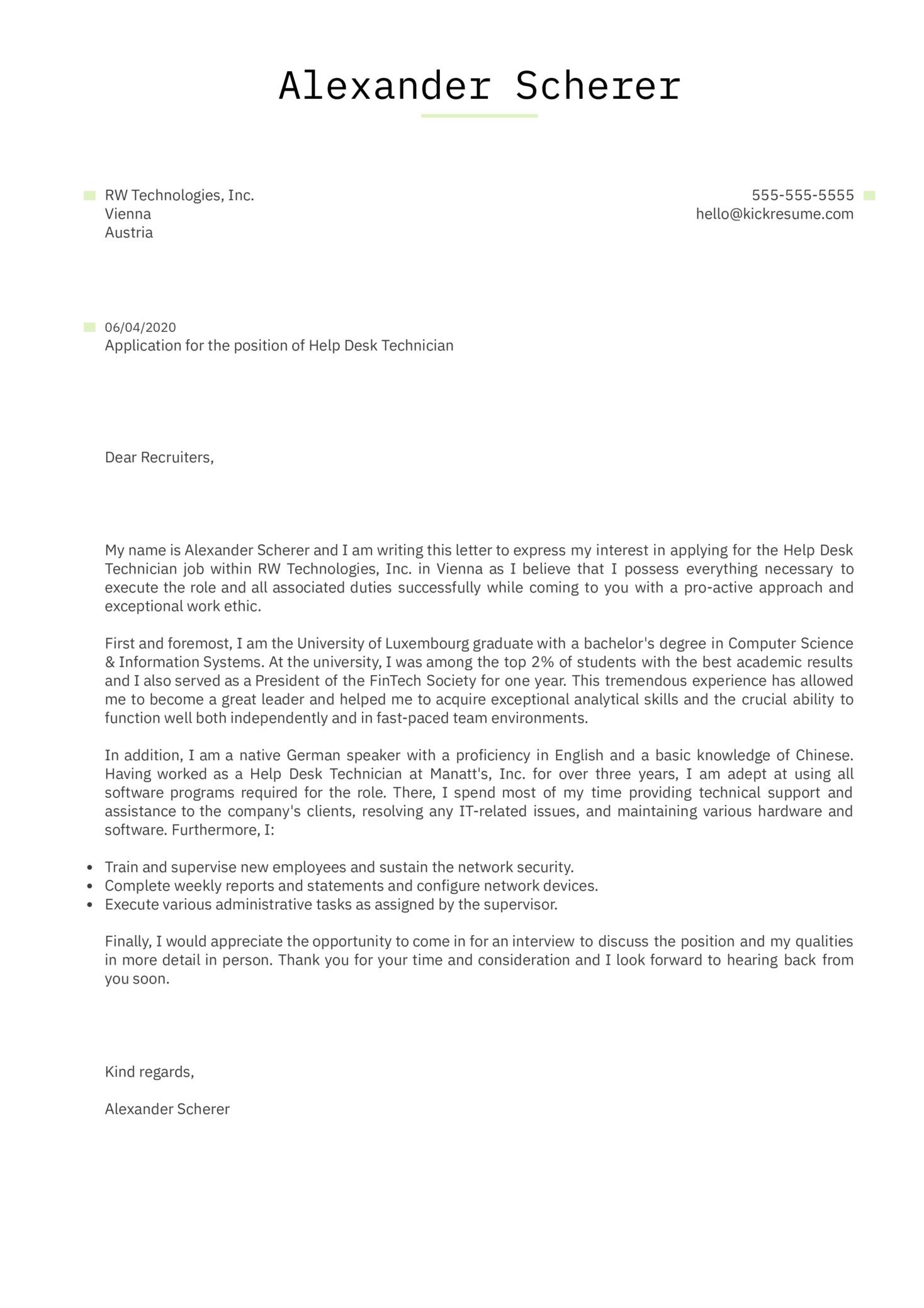 Help Desk Technician Cover Letter Example