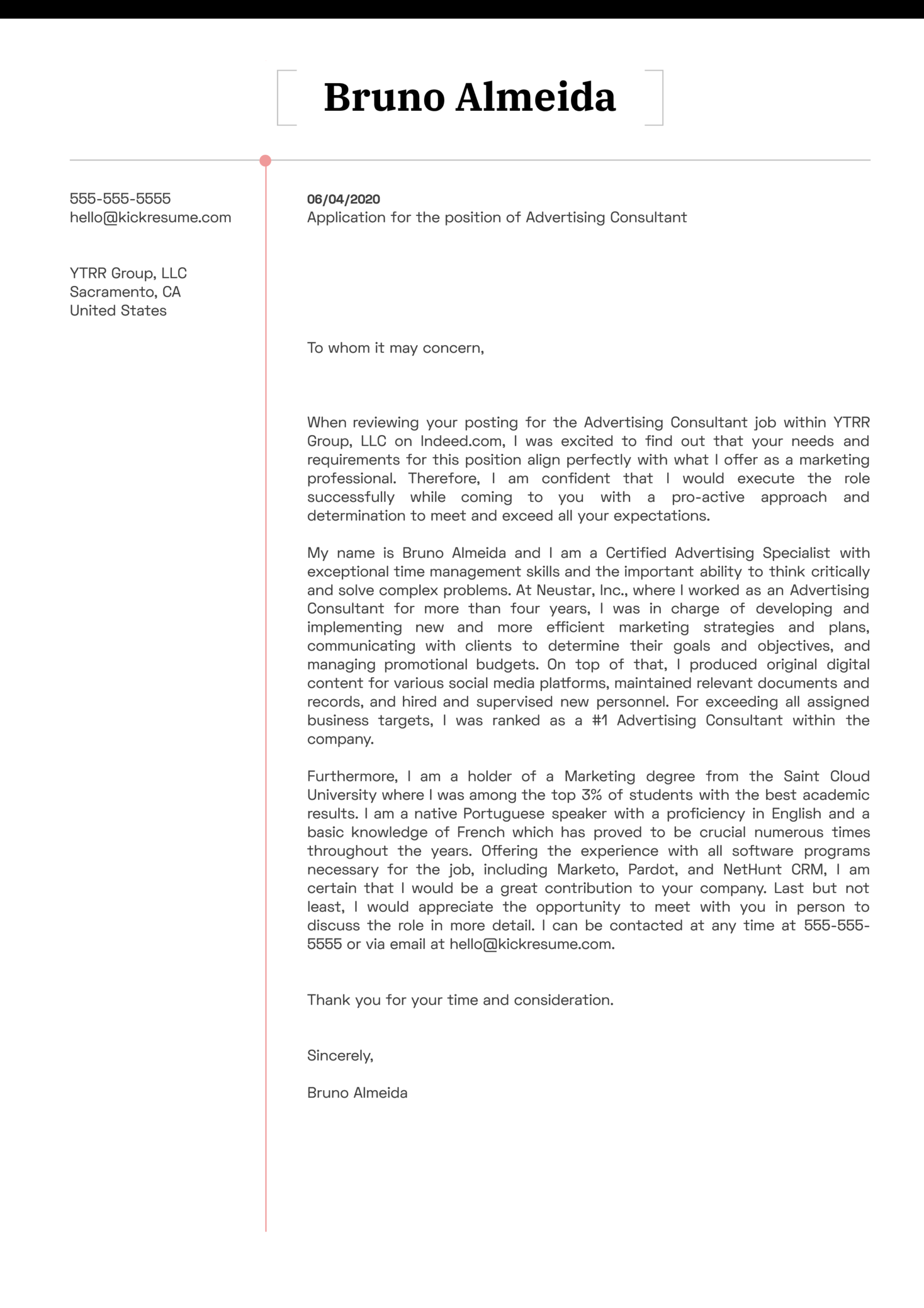 Advertising Consultant Cover Letter Template