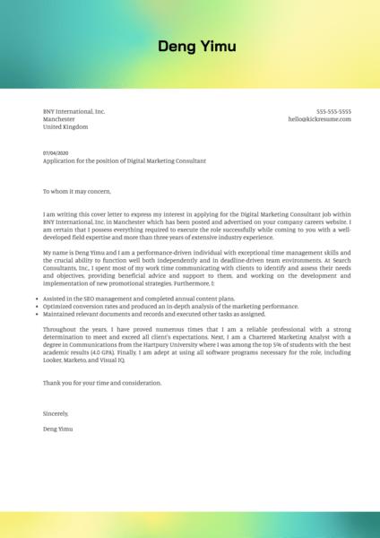 Digital Marketing Consultant Cover Letter Sample