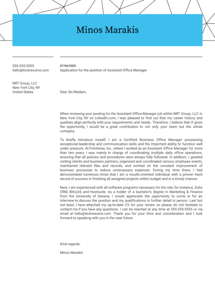 Assistant Office Manager Cover Letter Sample