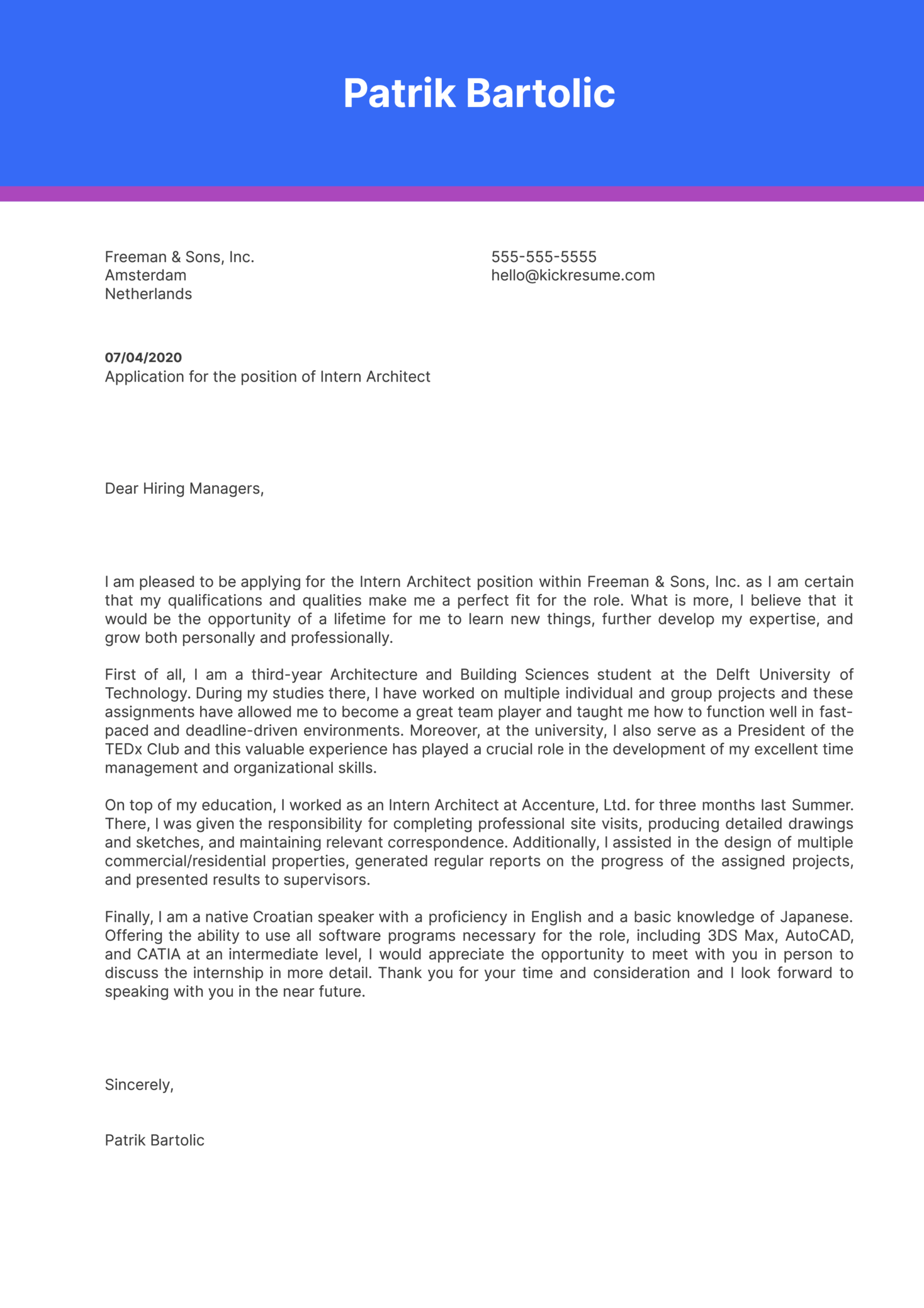 Intern Architect Cover Letter Example