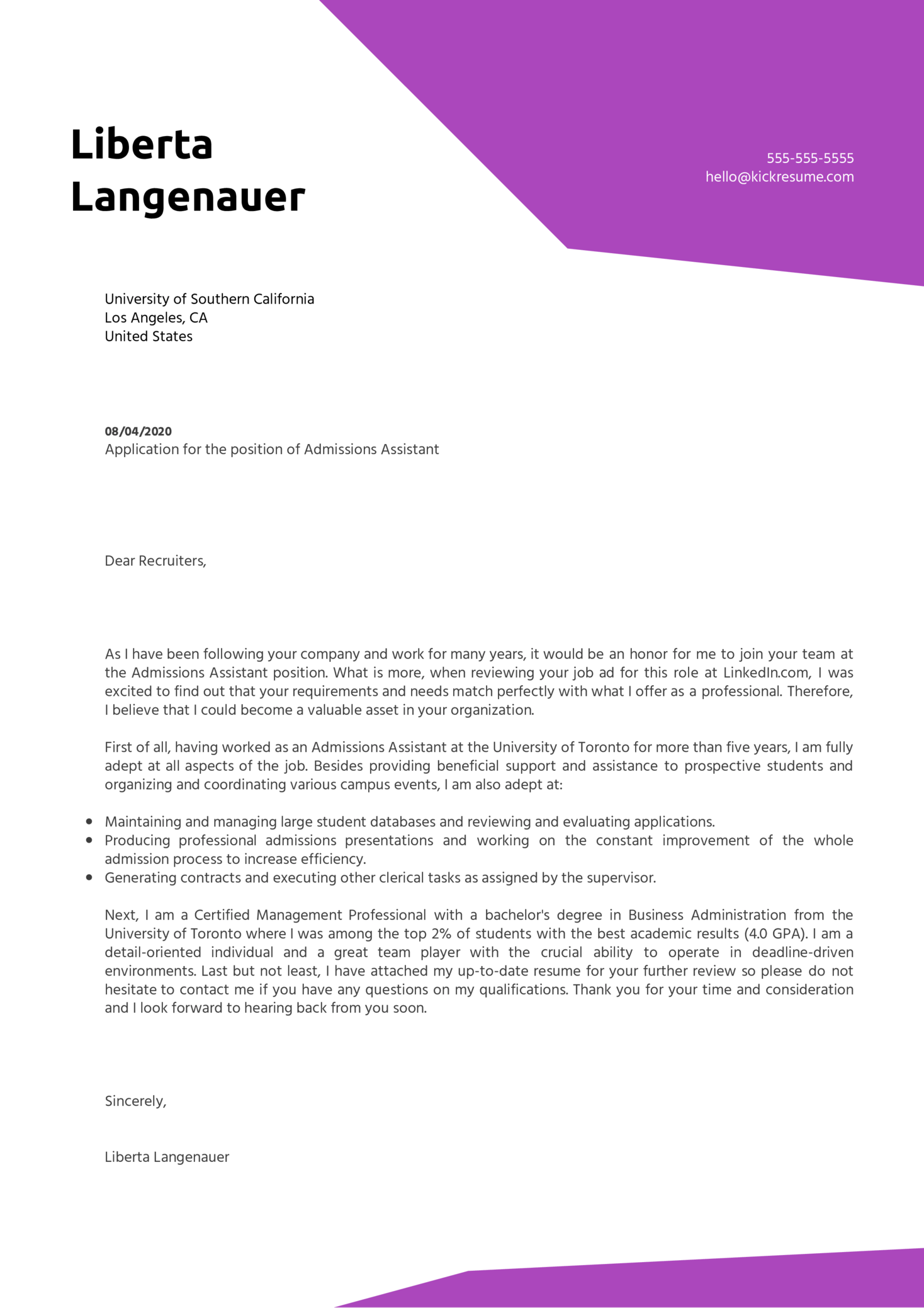 Admissions Assistant Cover Letter Sample