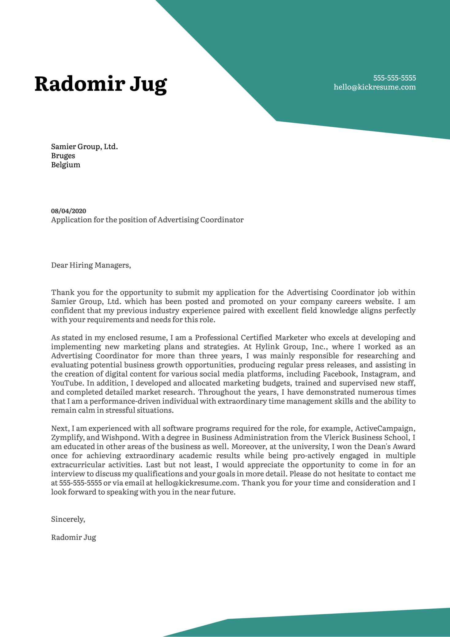 Advertising Coordinator Cover Letter Sample
