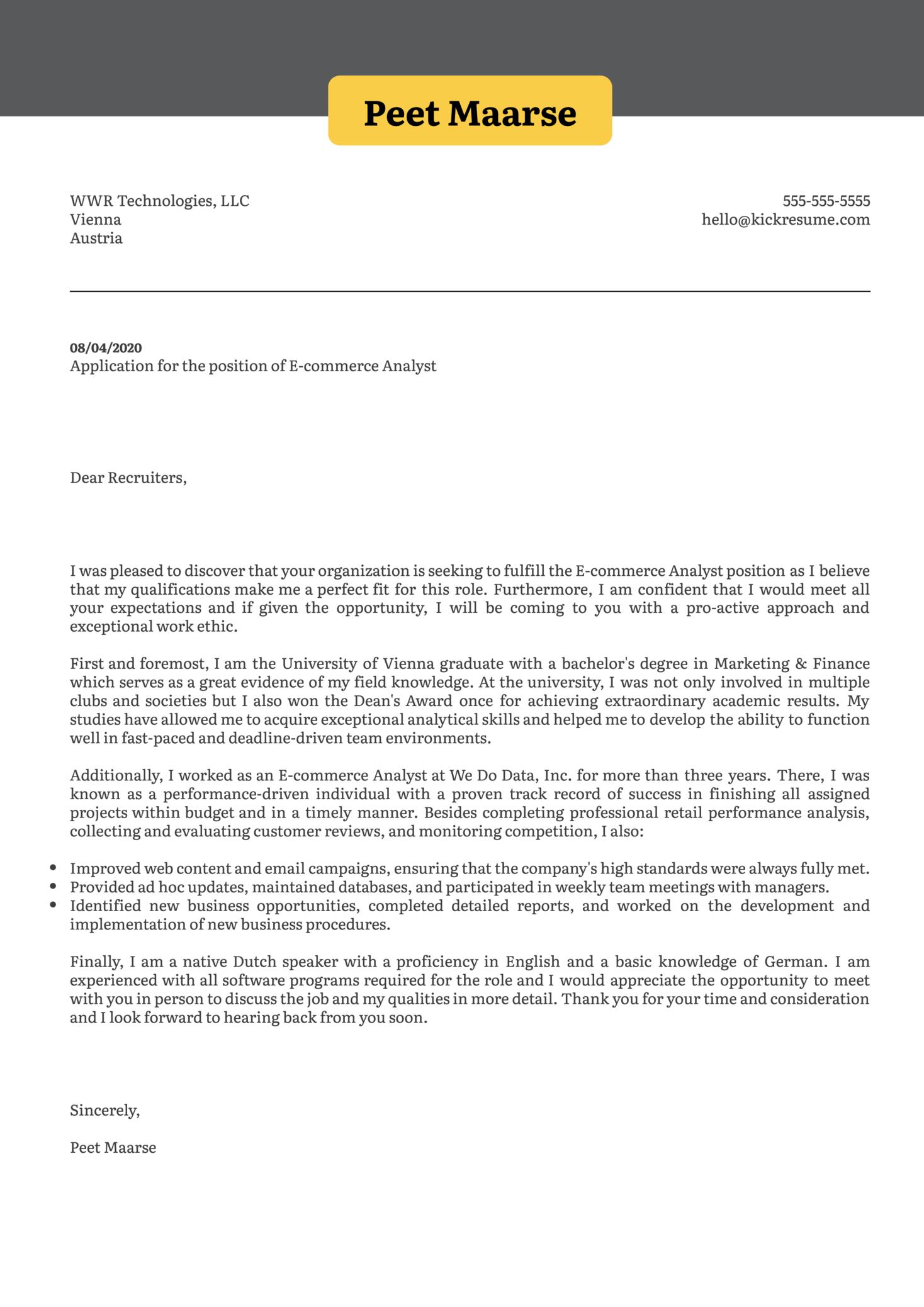 E commerce Analyst Cover Letter Sample   Kickresume