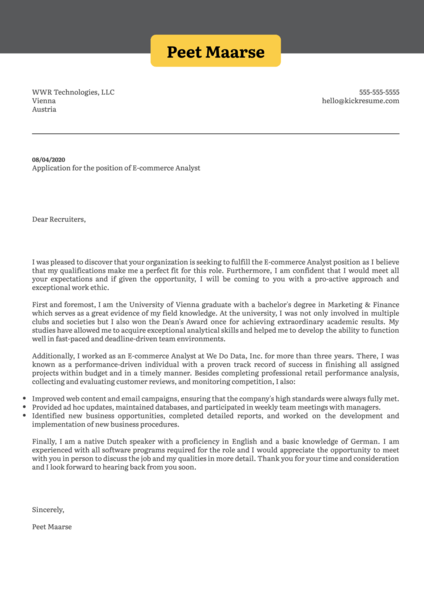E-commerce Analyst Cover Letter Sample