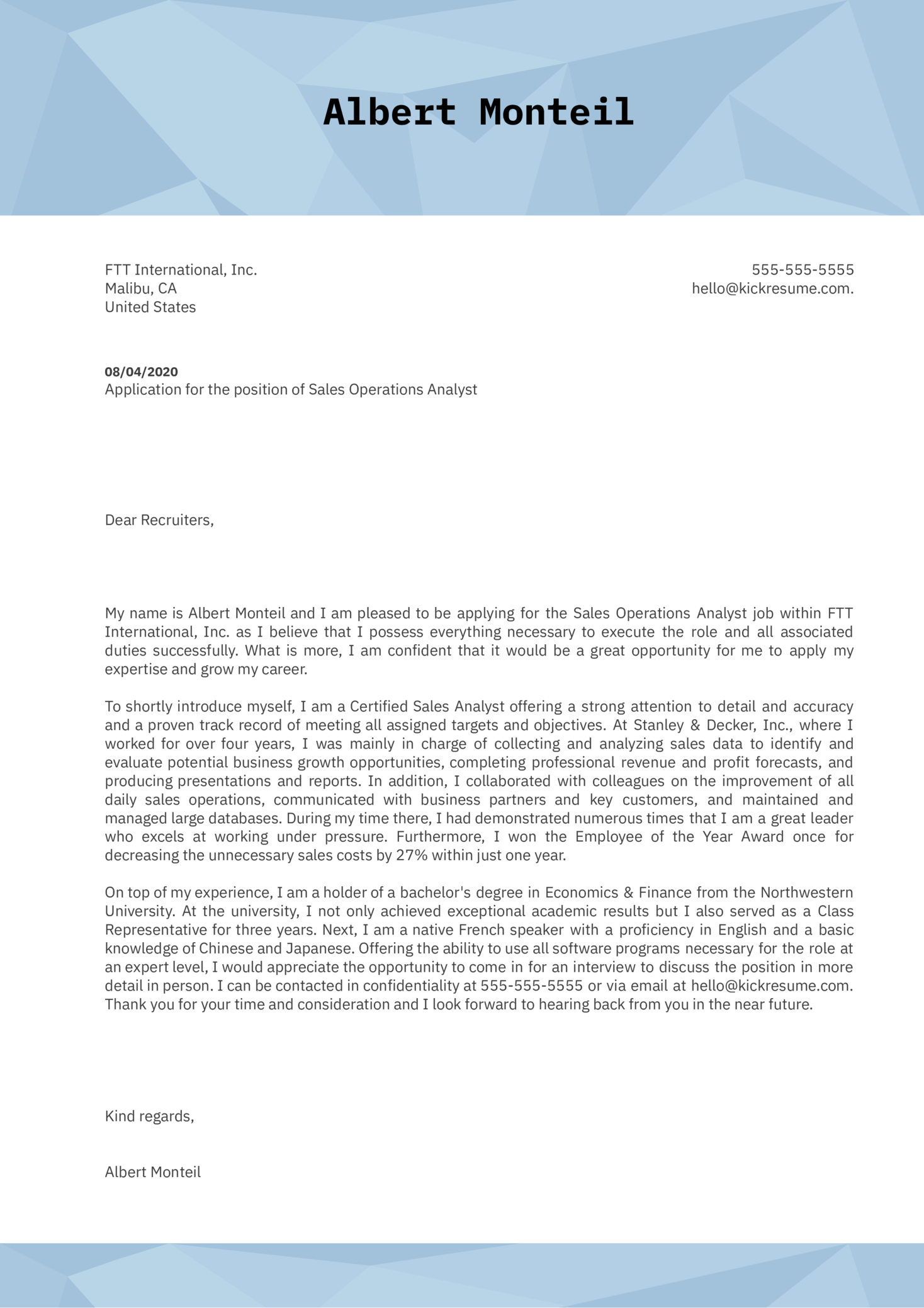 Sales Operations Analyst Cover Letter Example