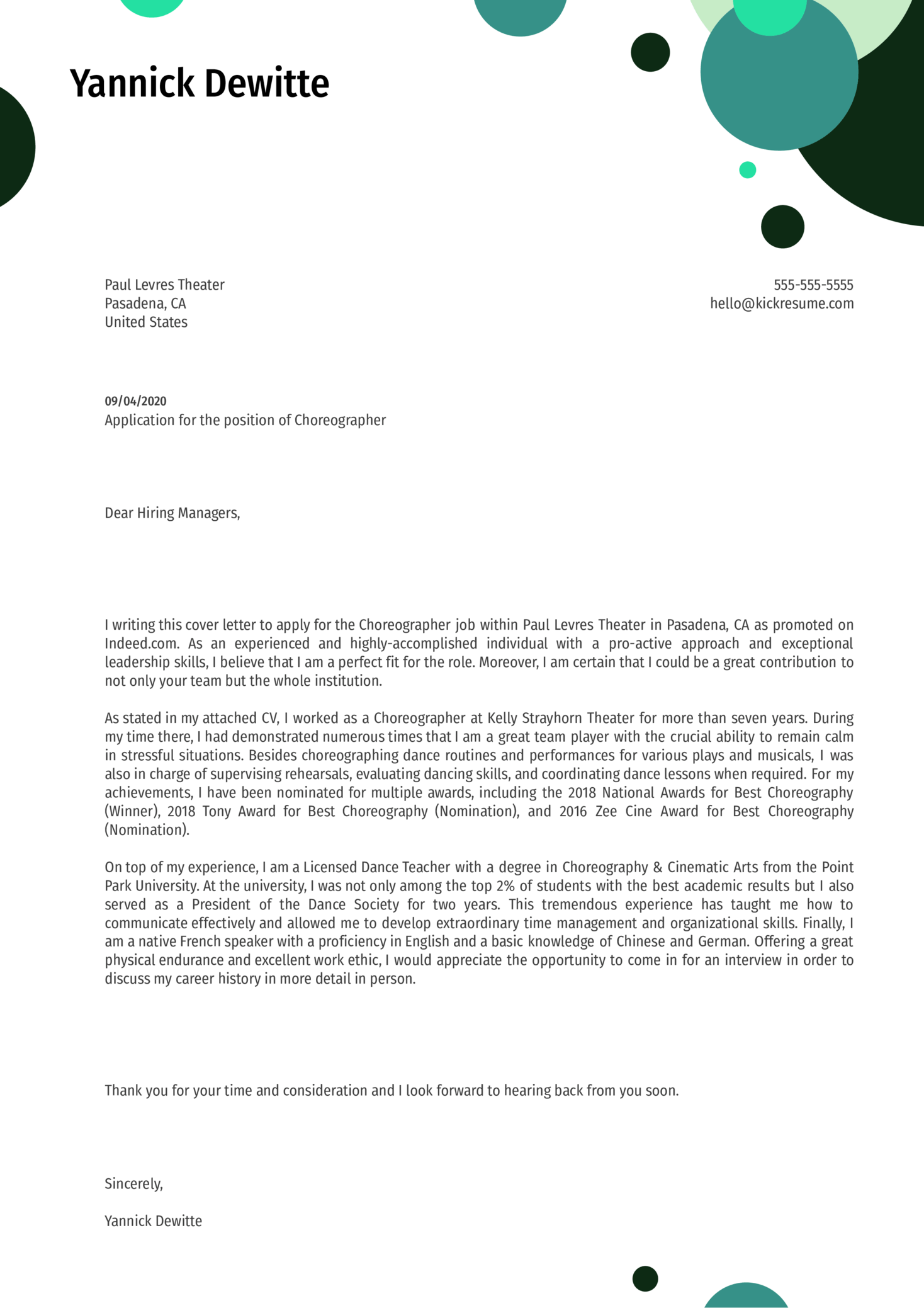 Choreographer Cover Letter Template