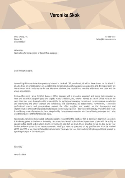 Back Office Assistant Cover Letter Sample