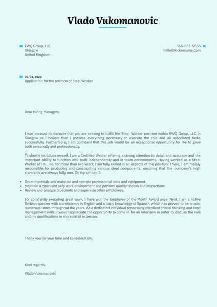 Steel Worker Cover Letter Example