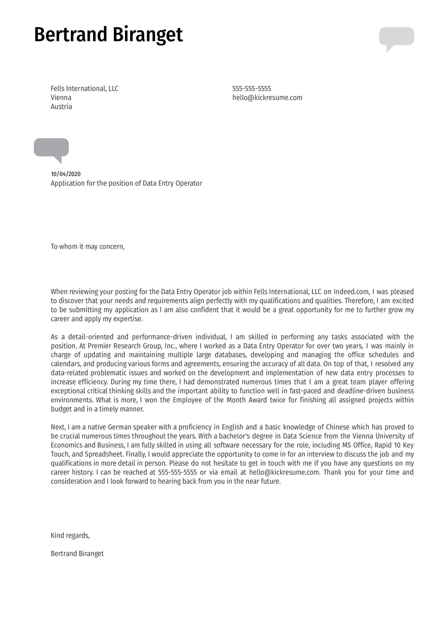 Data Entry Operator Cover Letter Sample