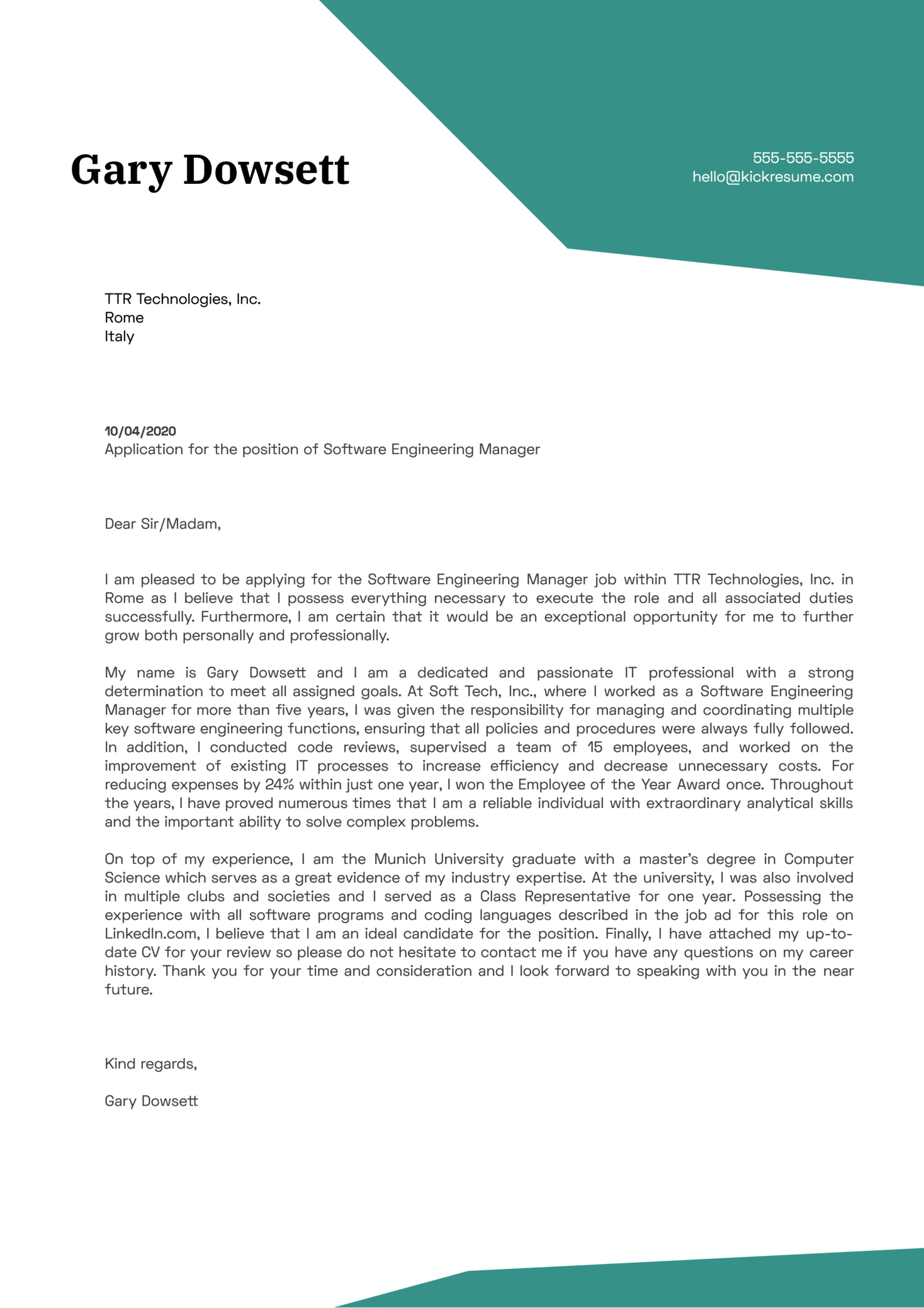 Software Engineering Manager Cover Letter Sample