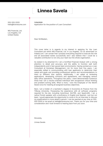 Loan Consultant Cover Letter Sample