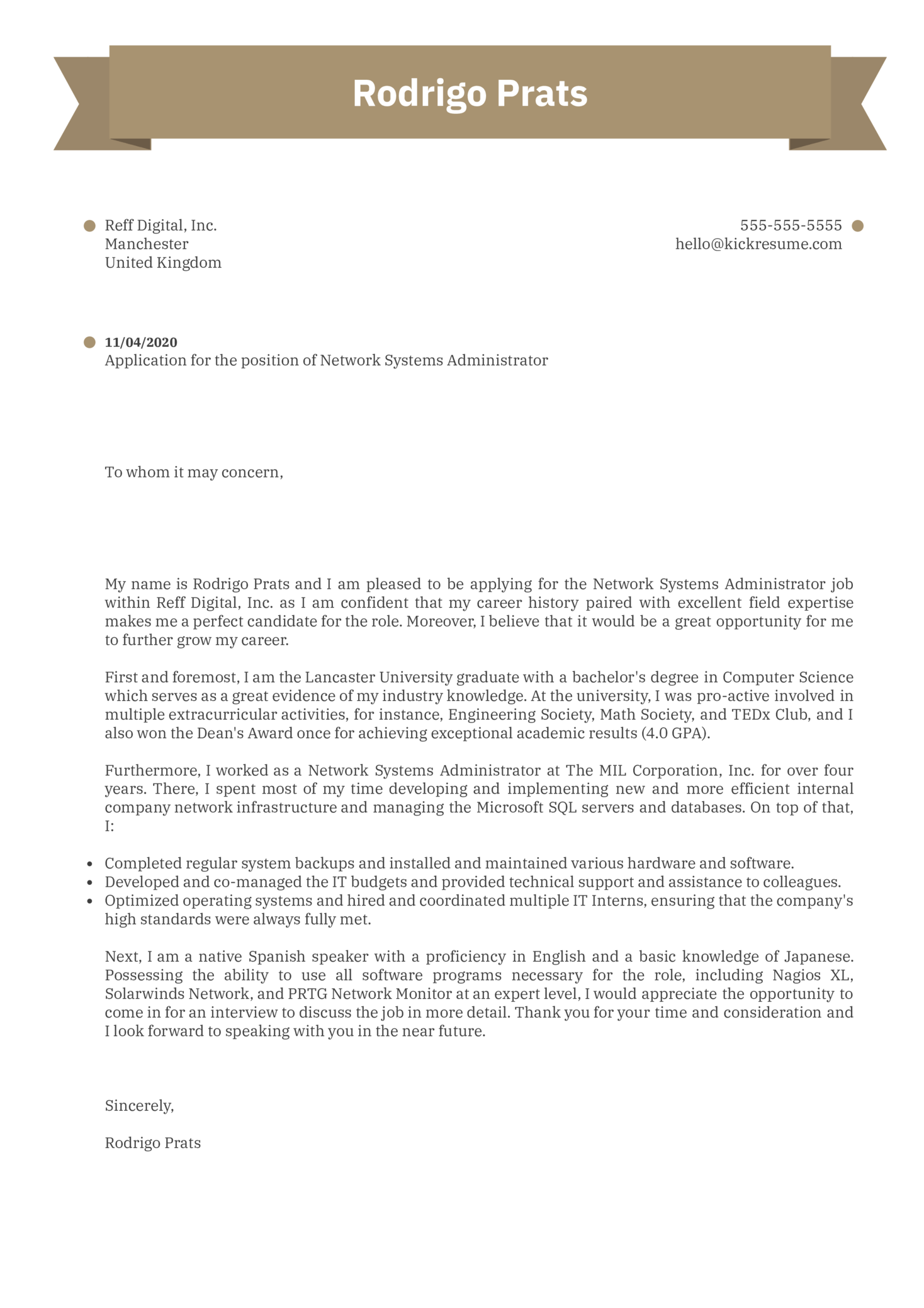 Network Systems Administrator Cover Letter Sample