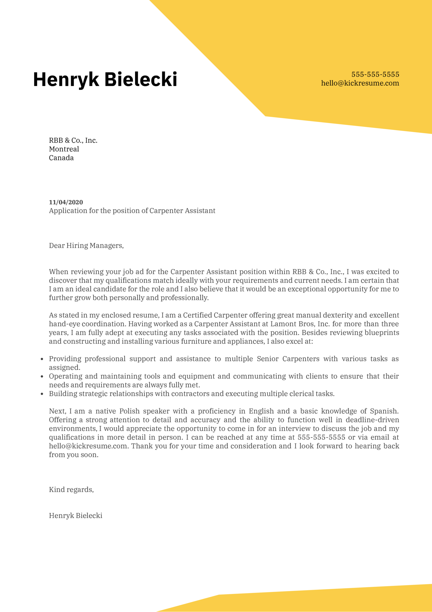 Carpenter Assistant Cover Letter Example